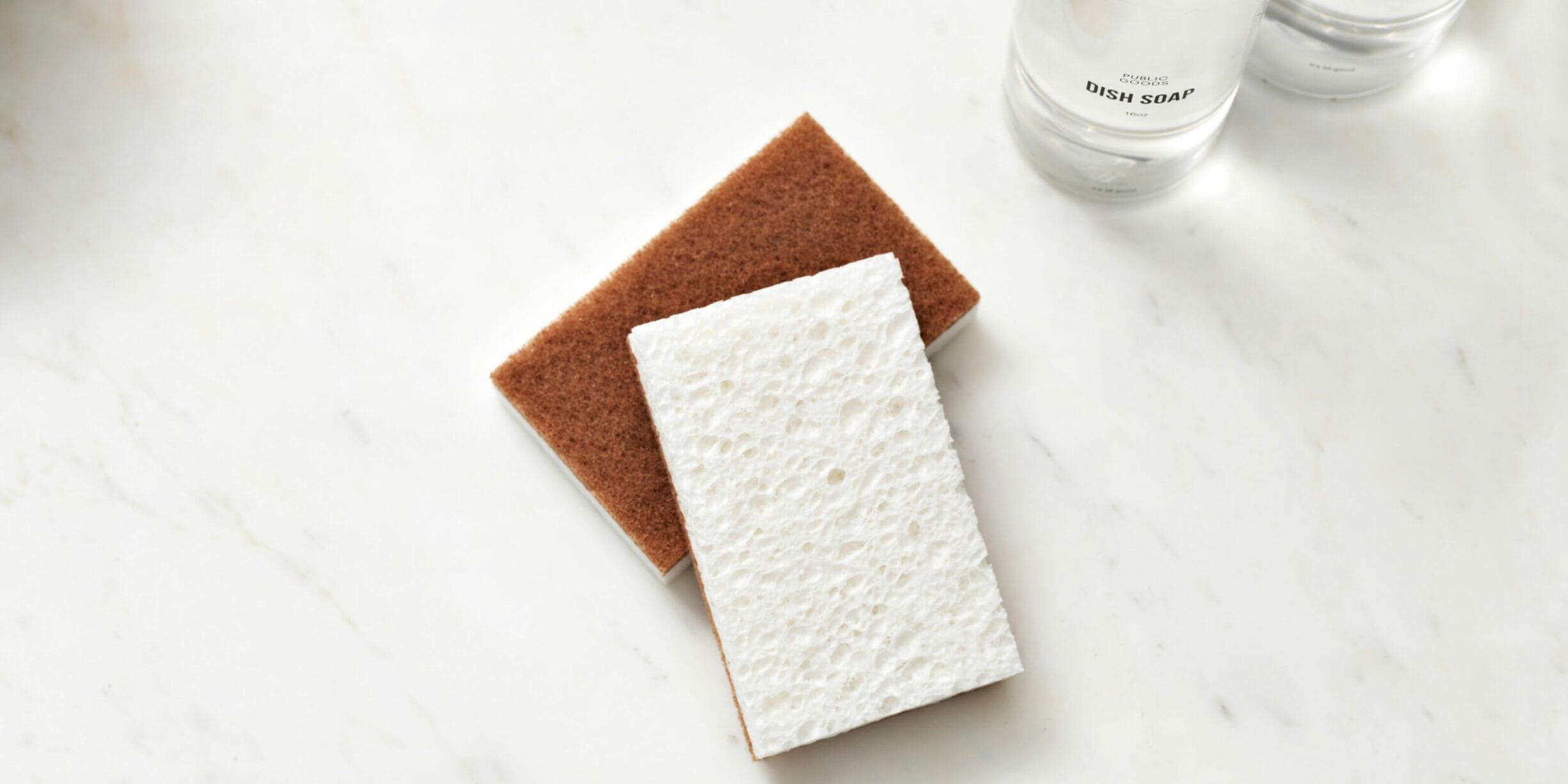 sponges, public goods cleaning products bottles