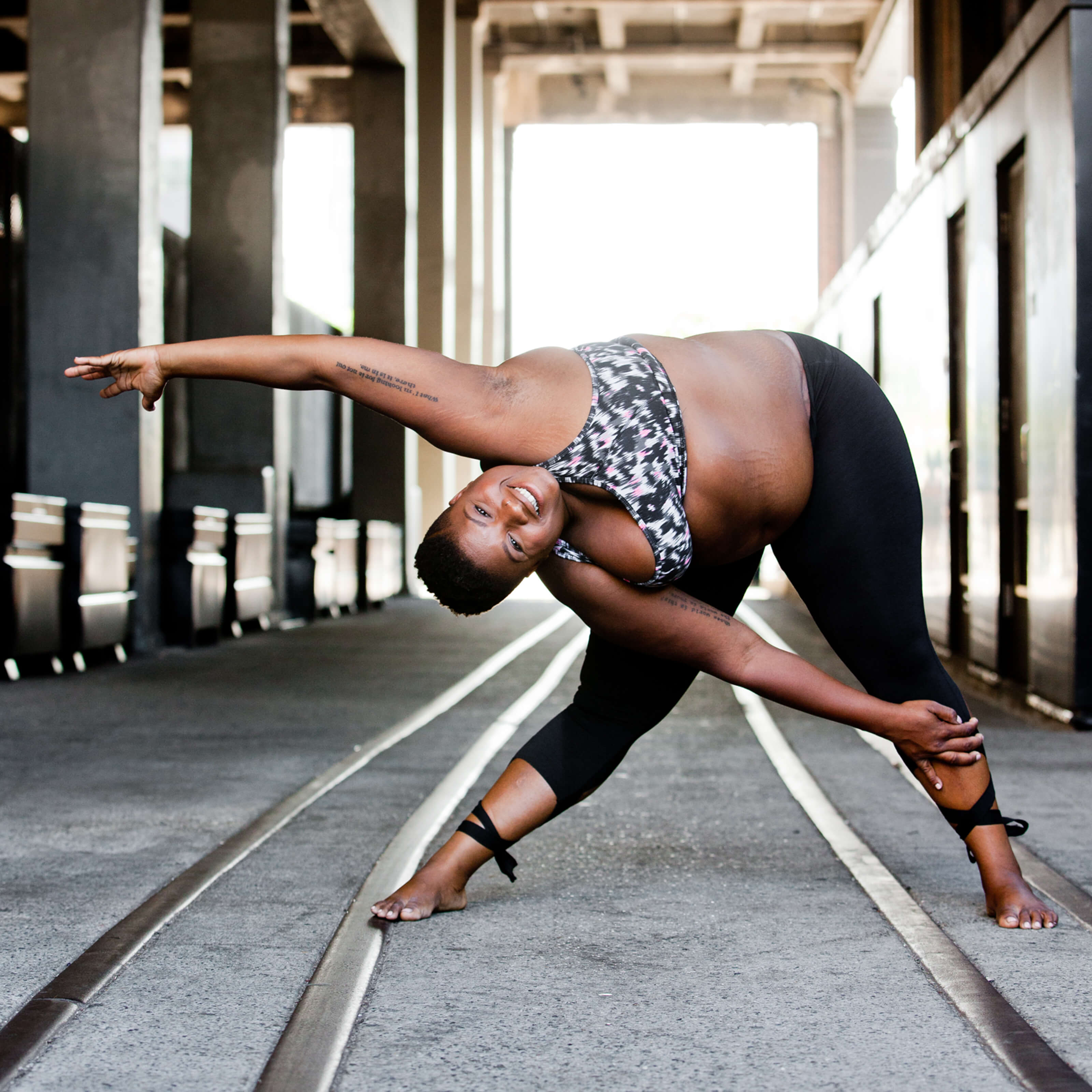 jessamyn stanley yoga, train tracks