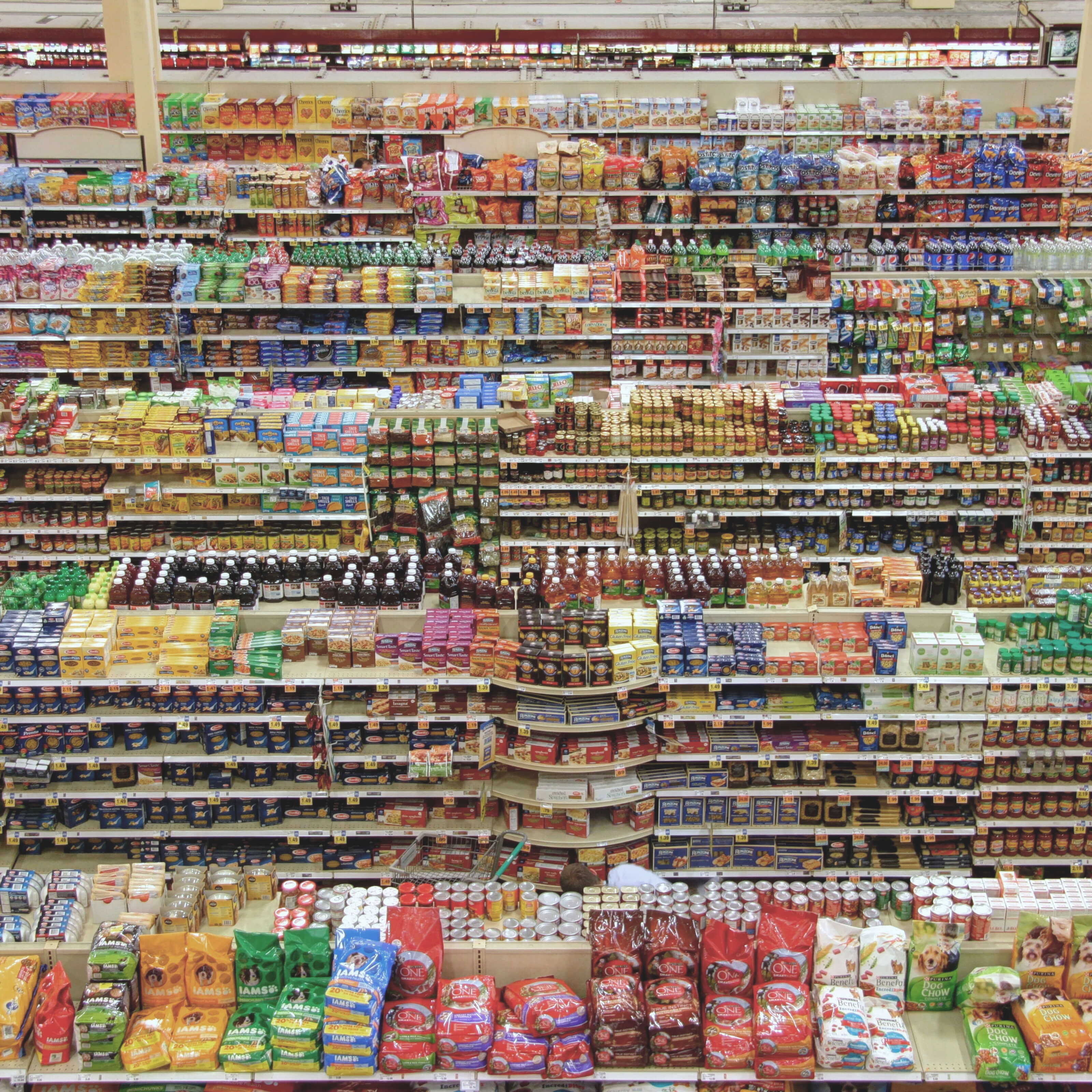food, products, grocery store shelves