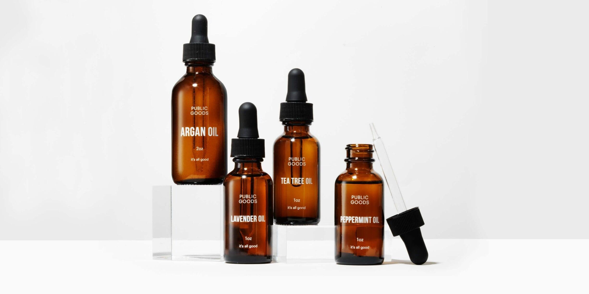 public goods essential oils bottles, droppers