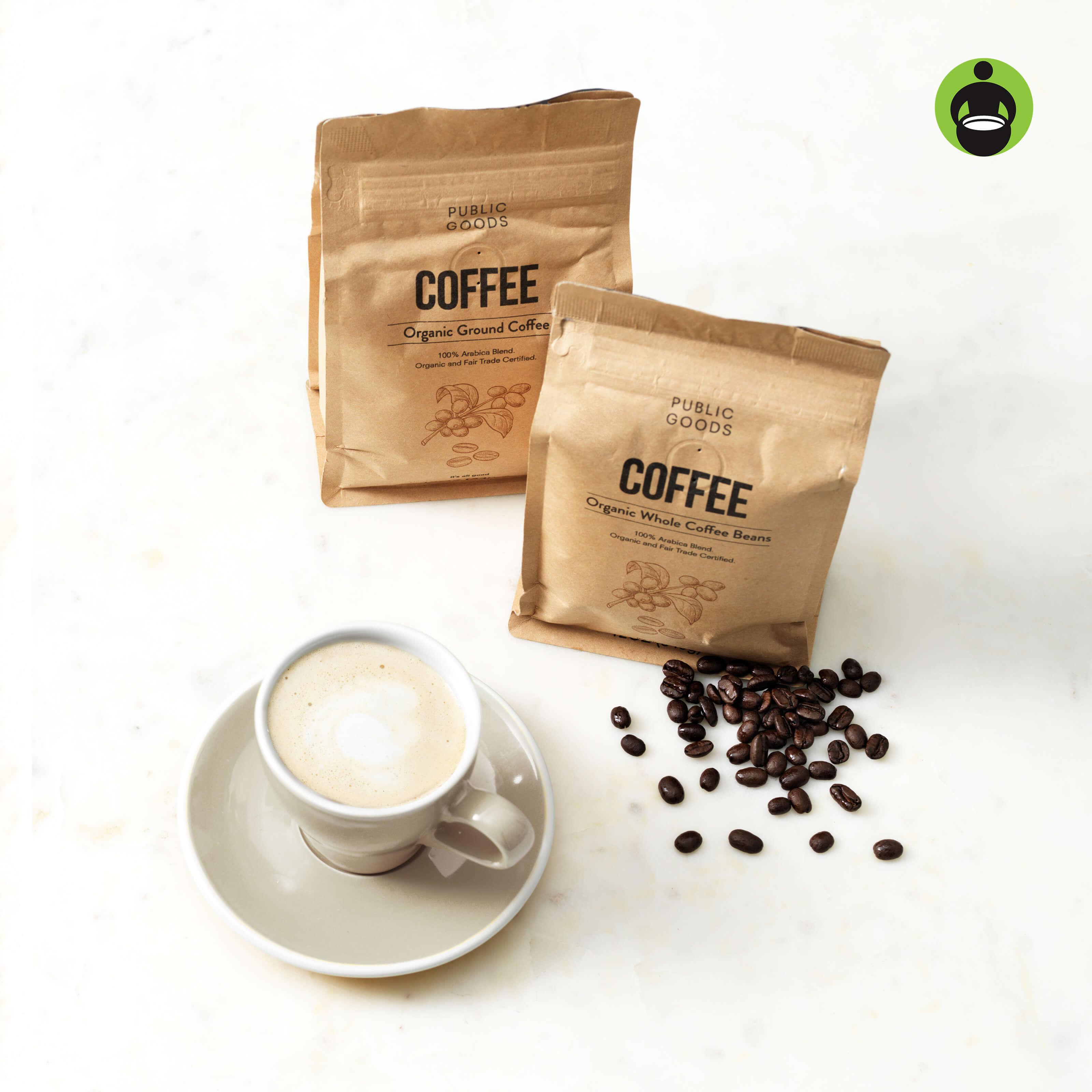 public goods coffee bags, beans, cup, saucer, fair trade usa logo
