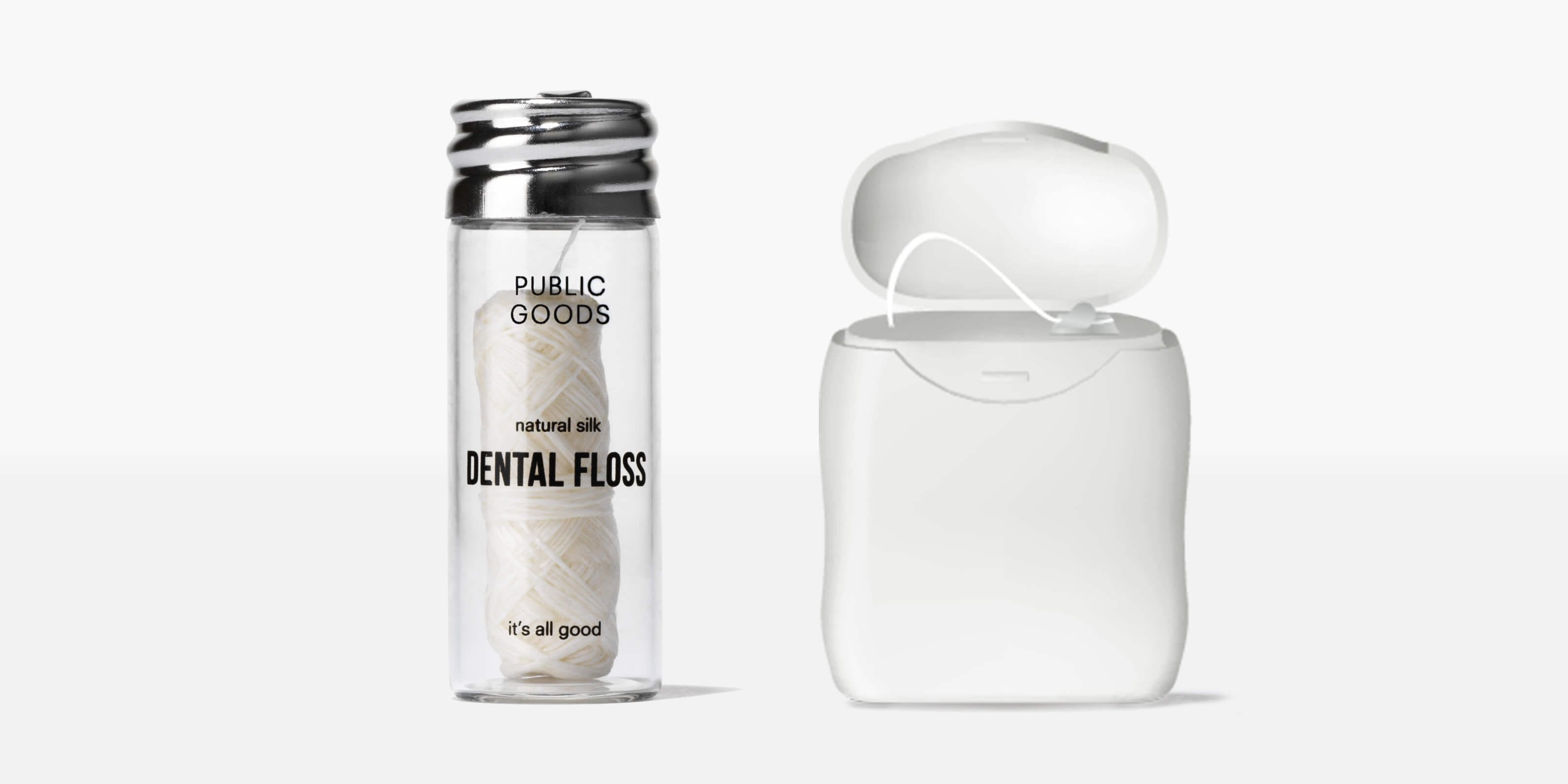 public goods silk dental floss, traditional plastic container
