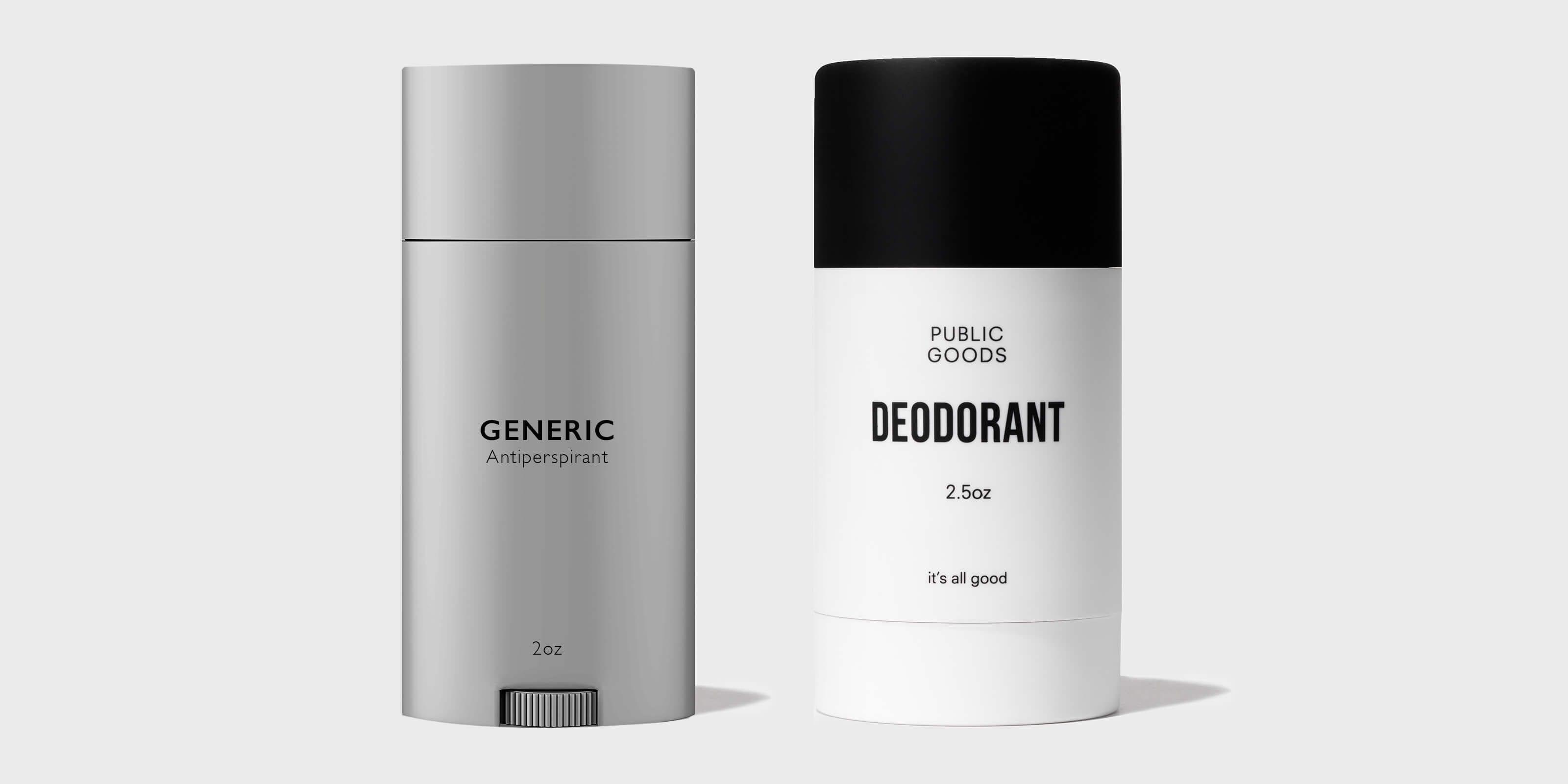 generic antiperspirant, public goods deodorant