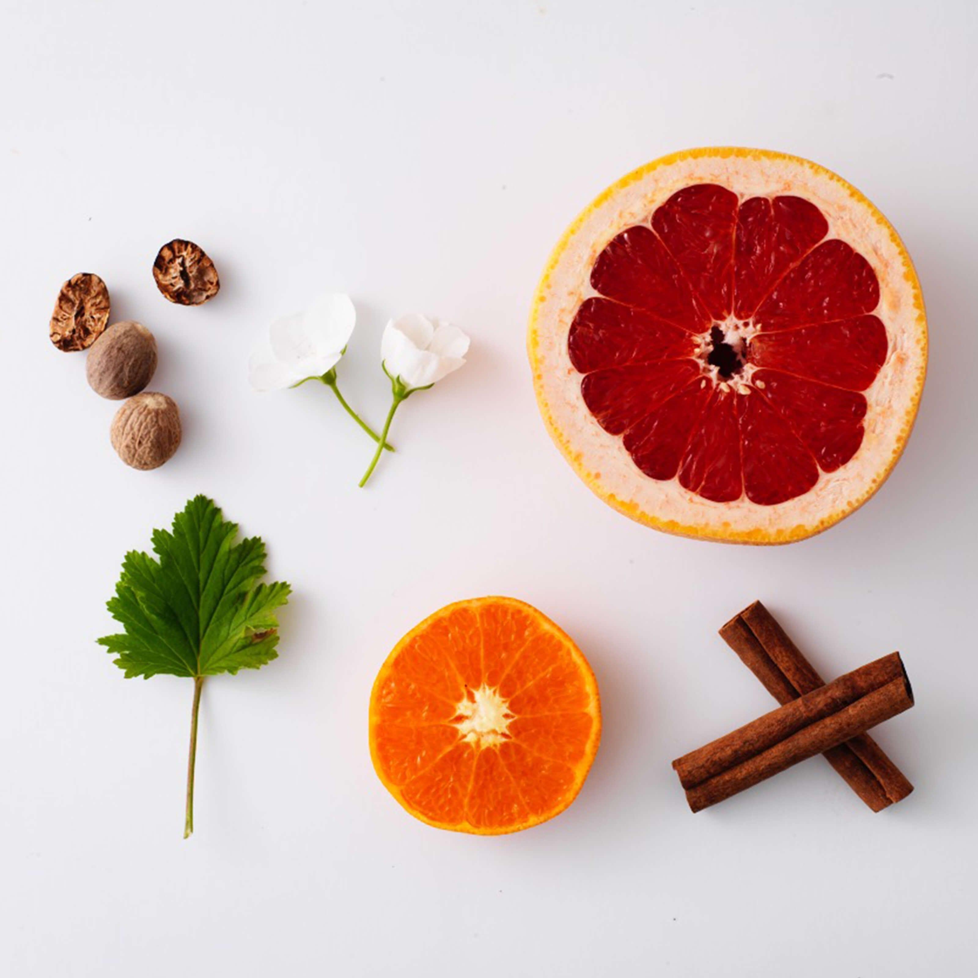 grapefruit, orange, leaf, nuts, flowers, cinnamon sticks