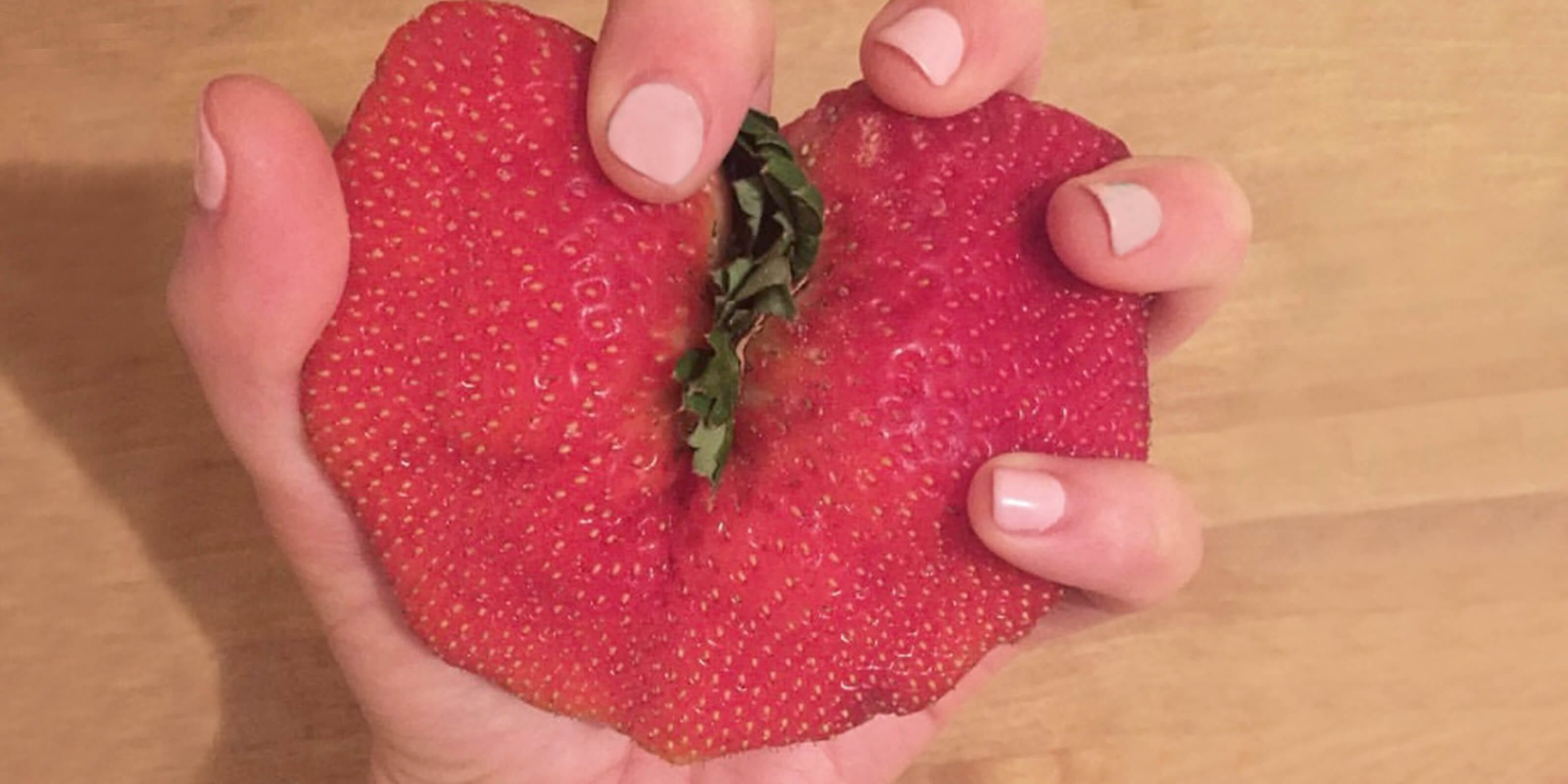 big imperfect strawberry