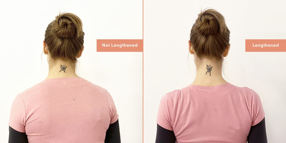 woman doing neck lengthening stretch