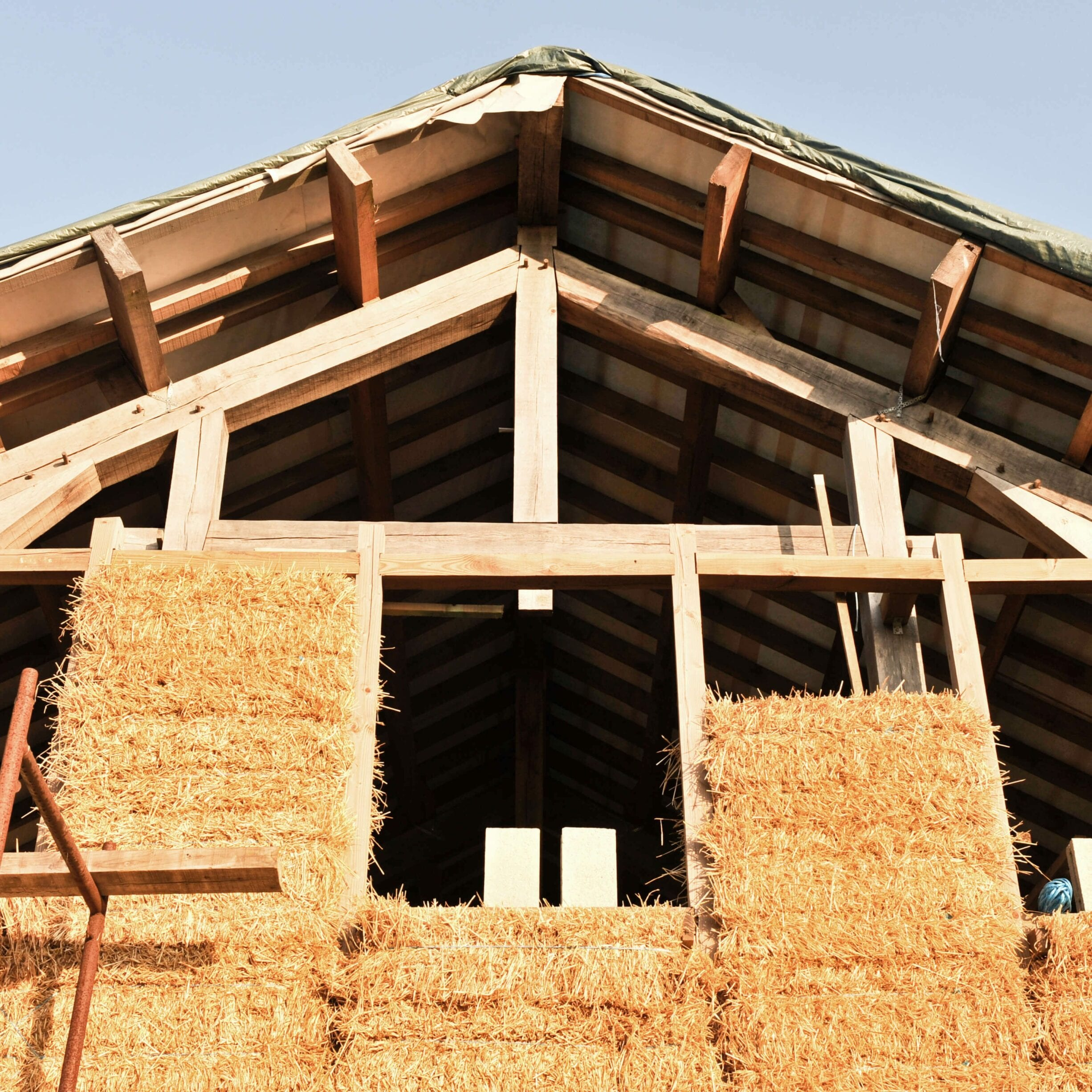 straw bale home under construction