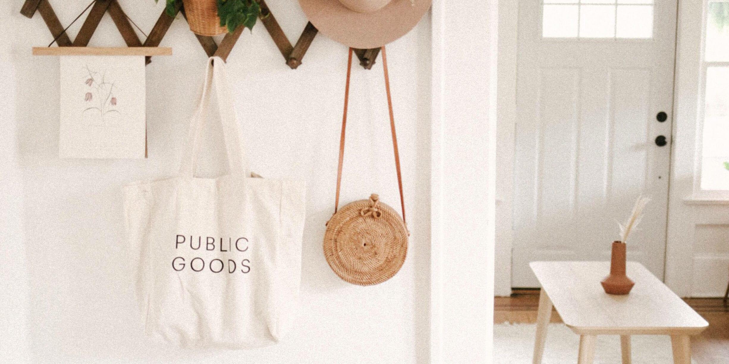 public goods tote bag, sun hat, house plant