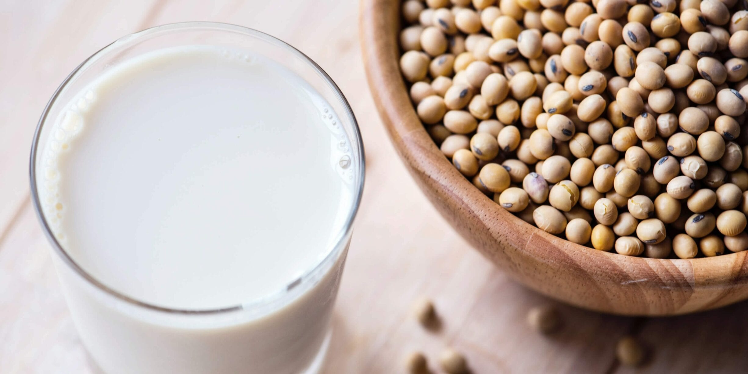 glass of milk, bowl of beans