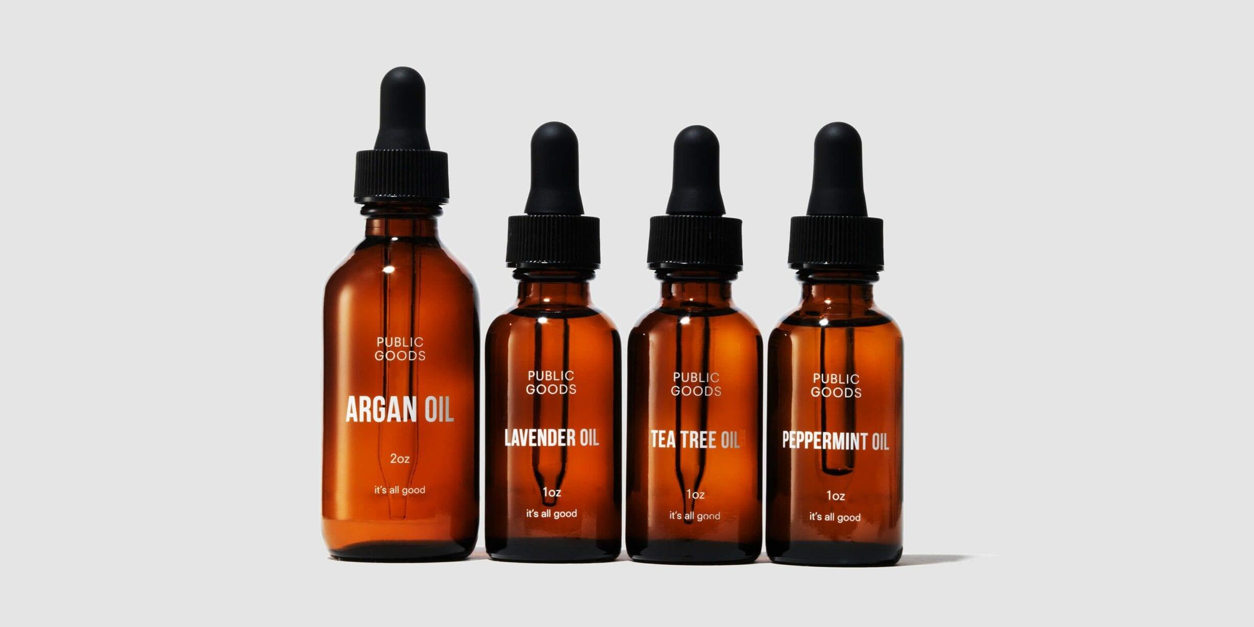 public goods essential oil bottles, droppers