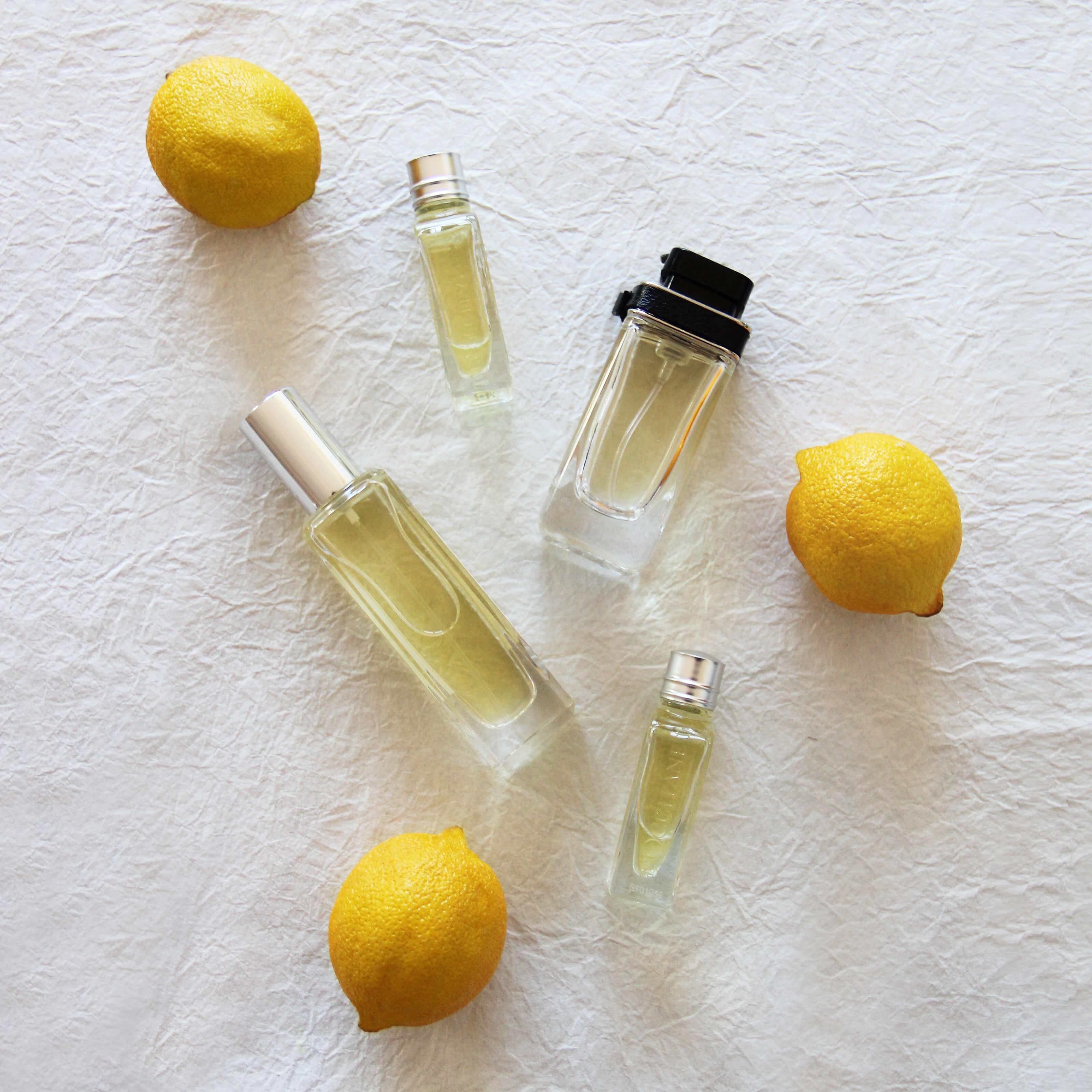 perfume bottles, lemons