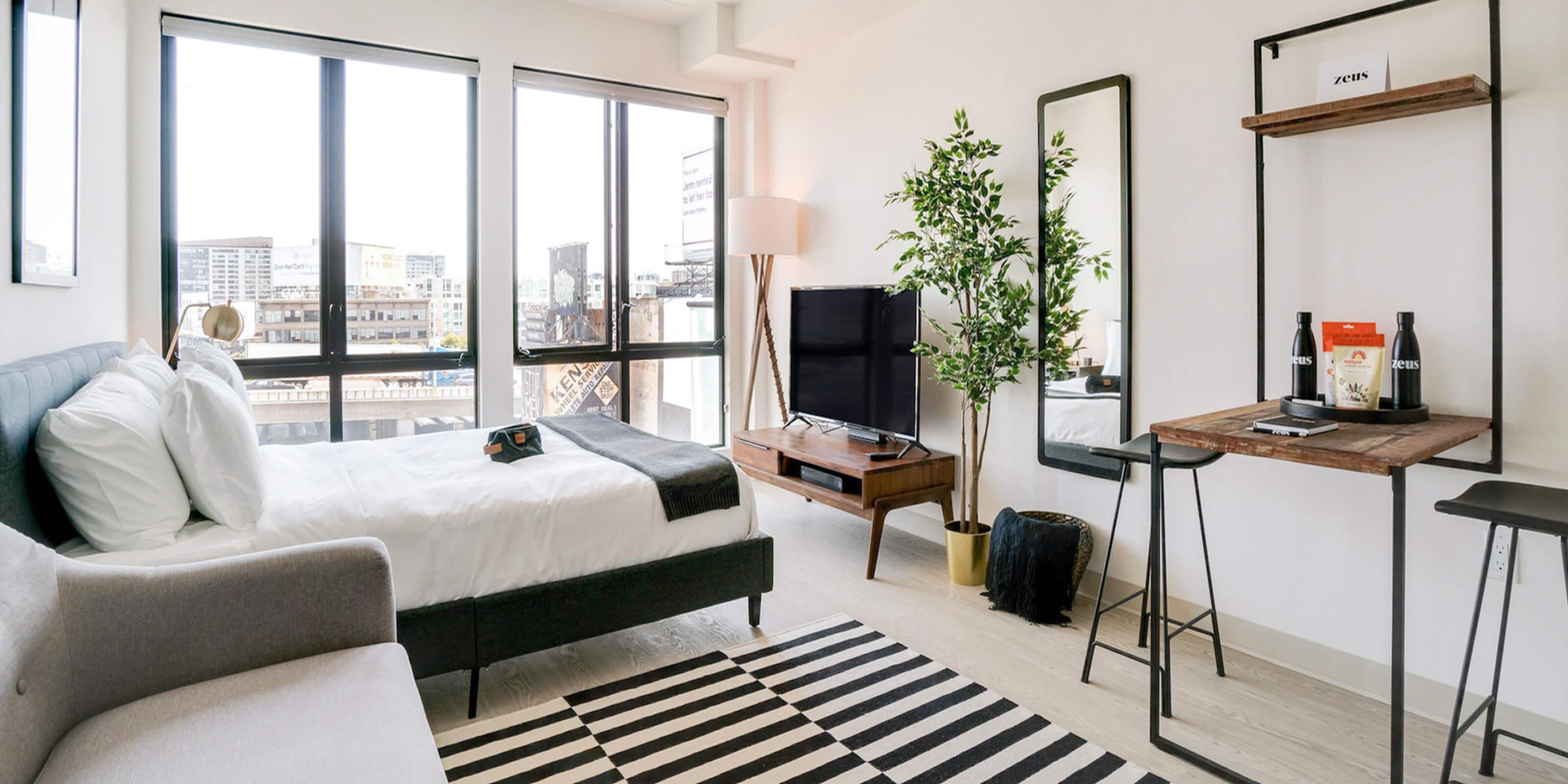 zeus studio apartment bedroom