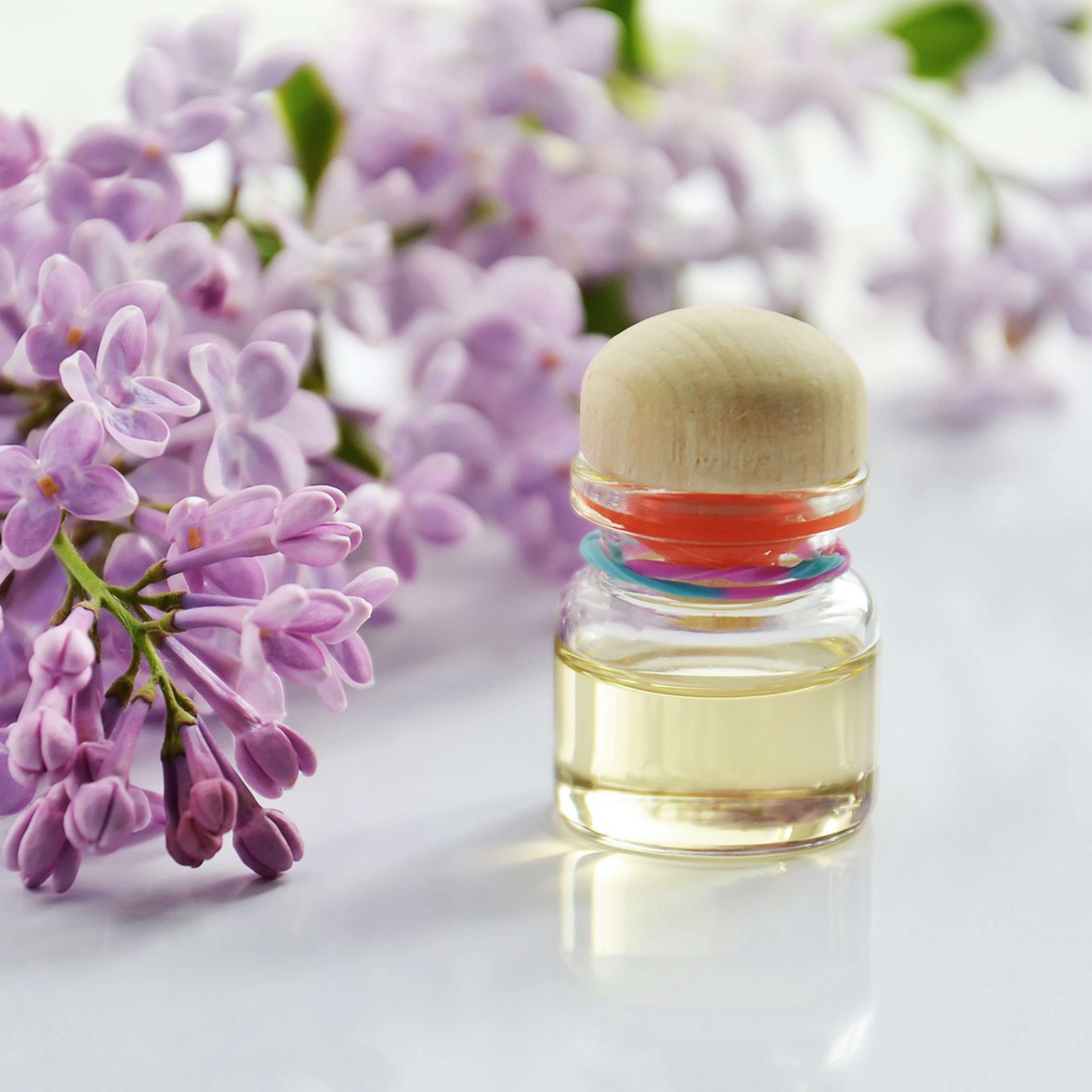 perfume bottle, flowers