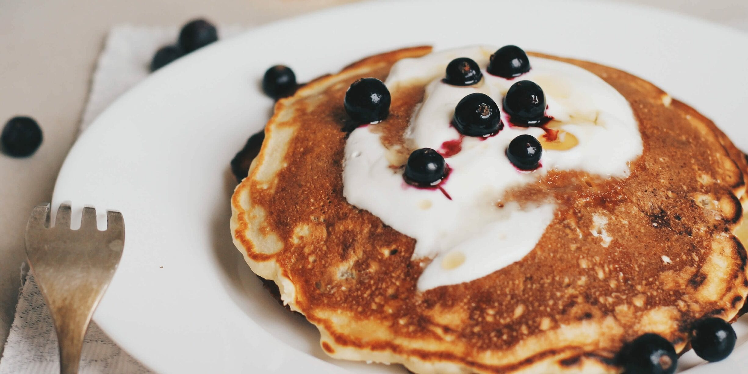 buckwheat pancake with blueberries and butter