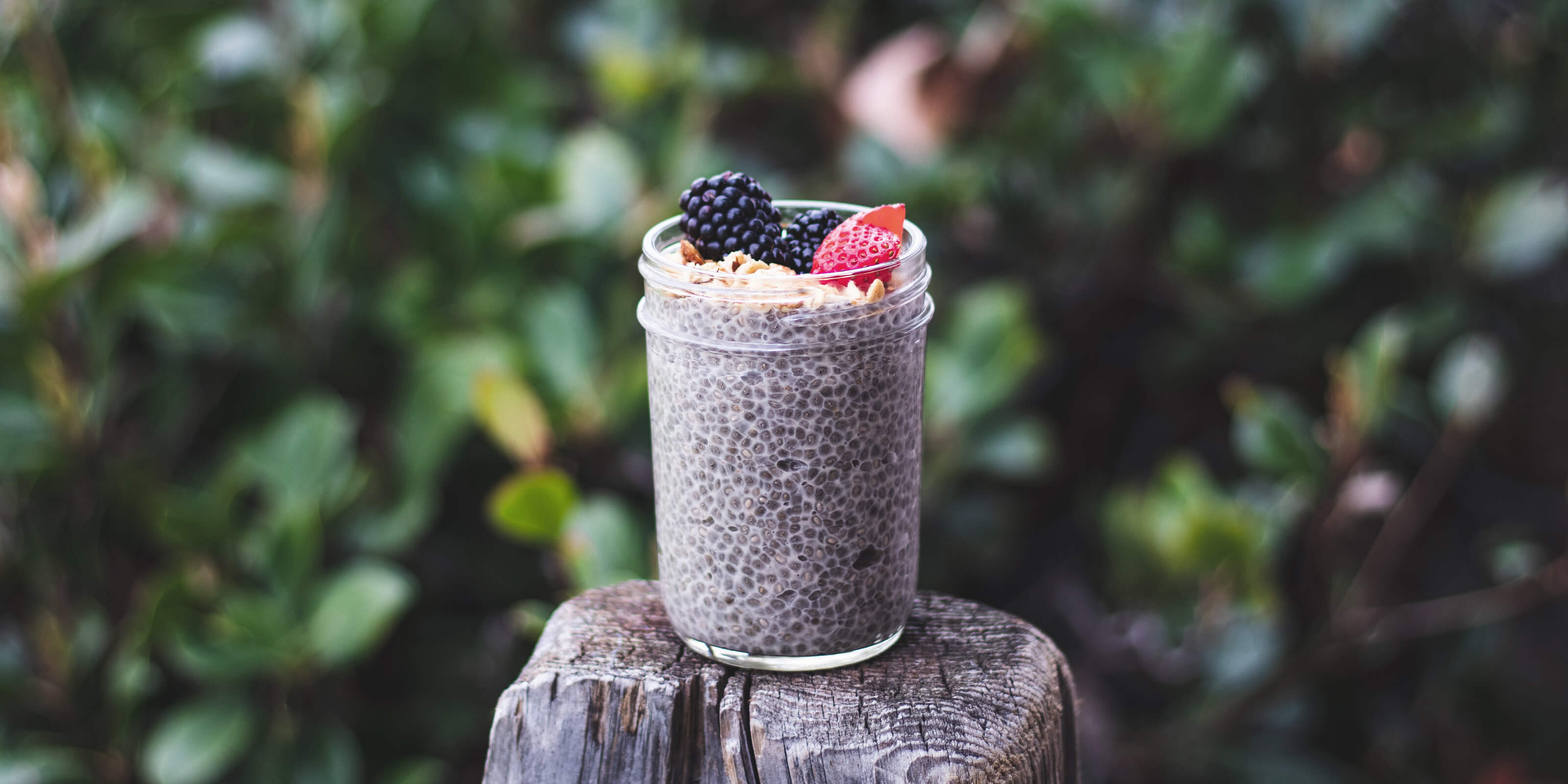 jar with chia seeds and fruit