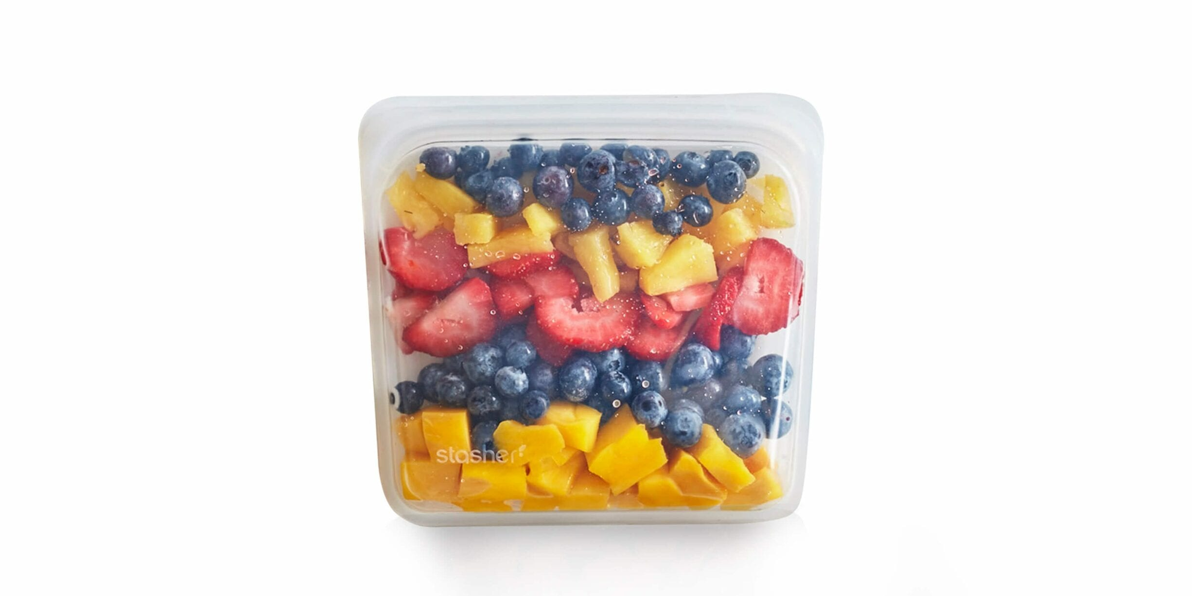 stasher bag with assorted fruit