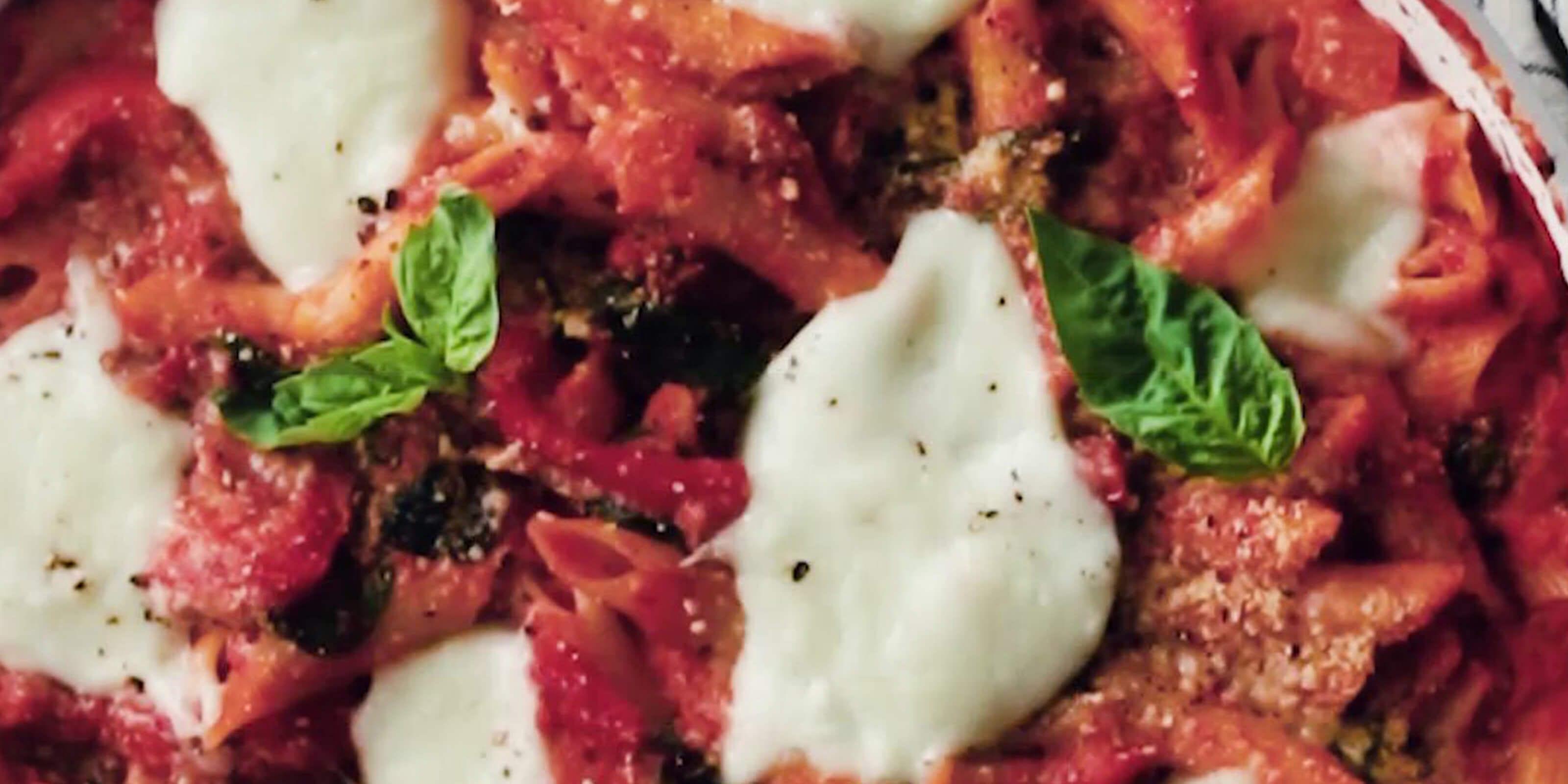 creamy tomato basil pasta bake
