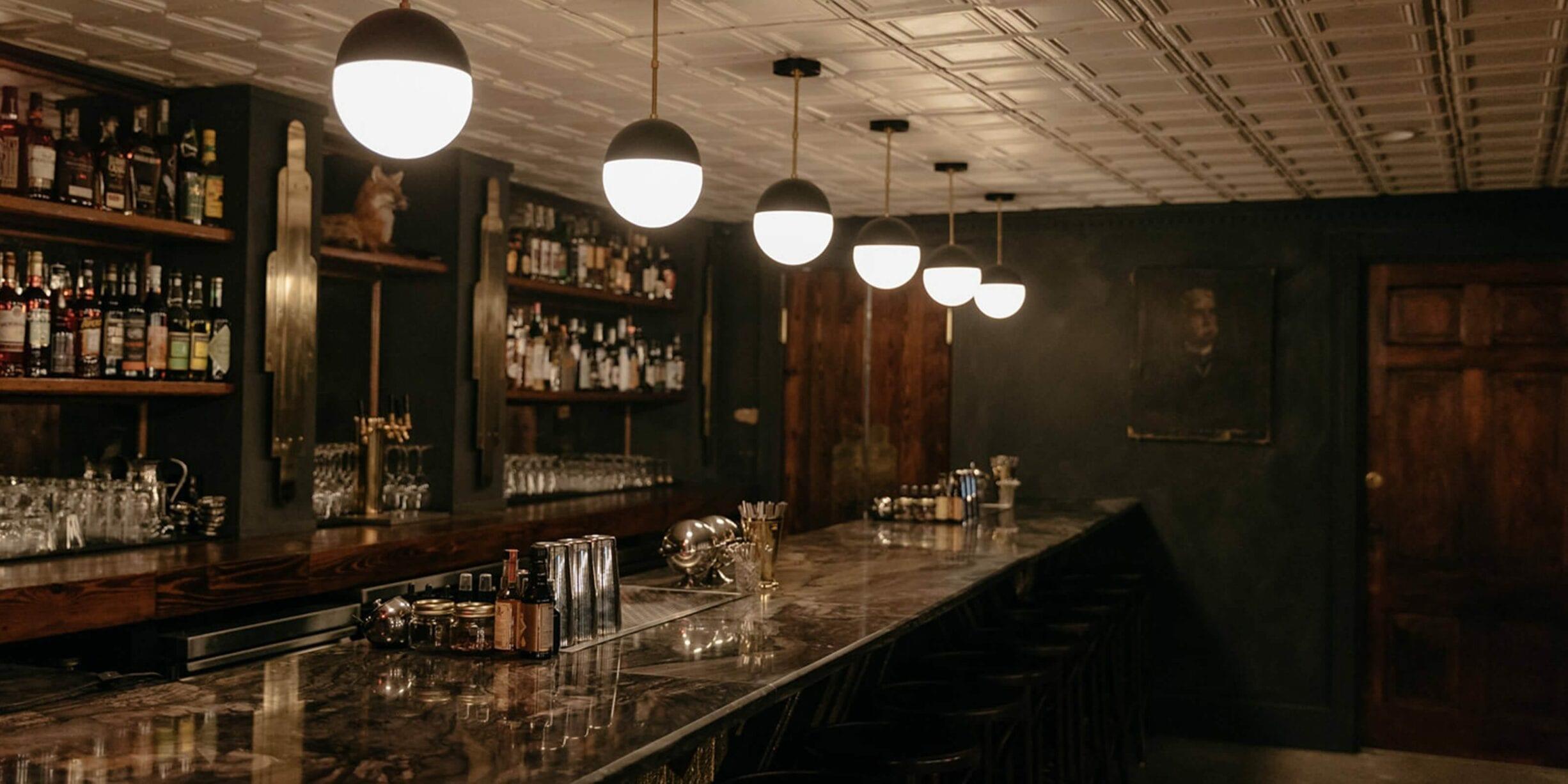 counter at the fox bar & cocktail club