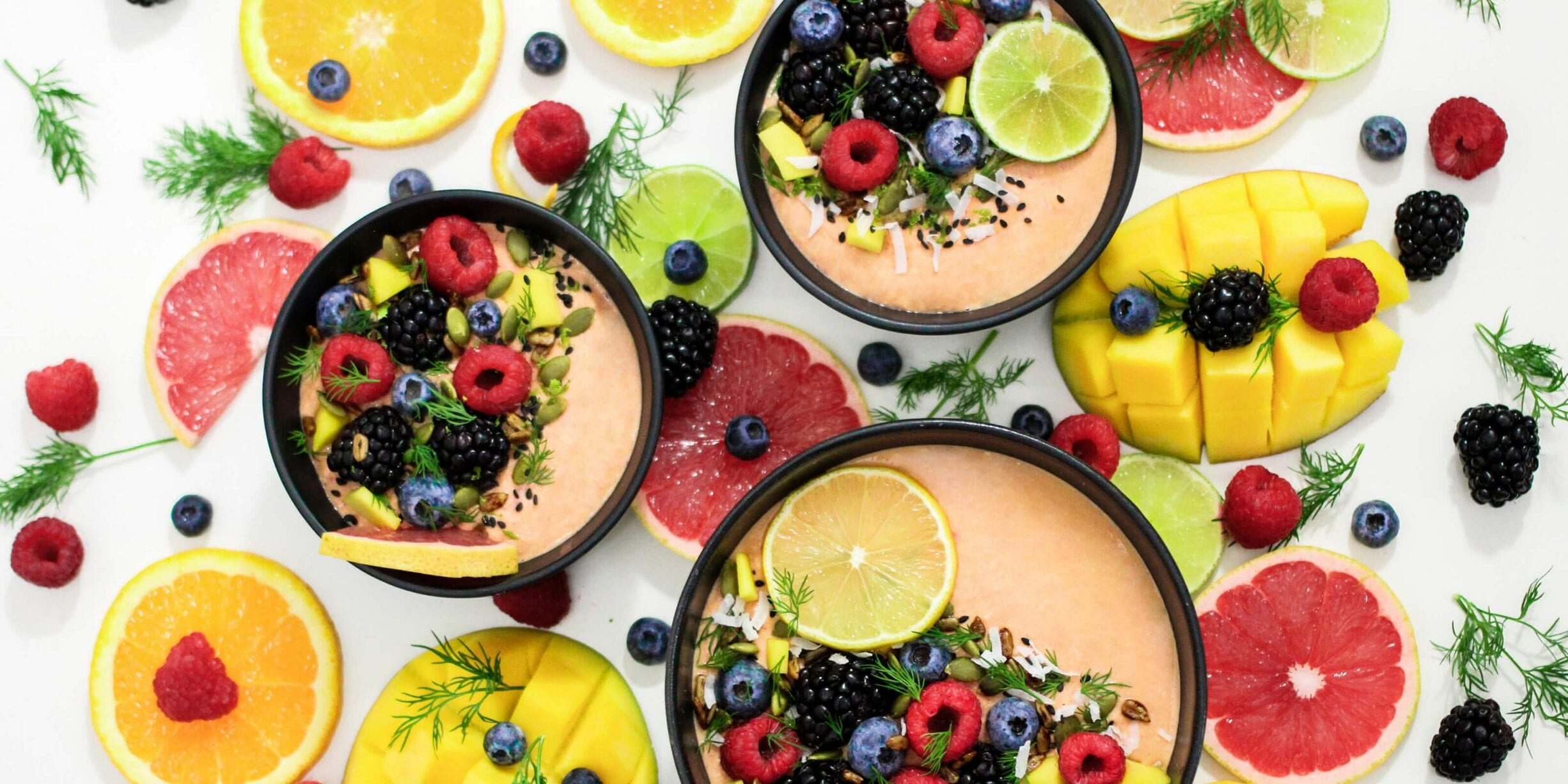 smoothie bowls with fruit and berries