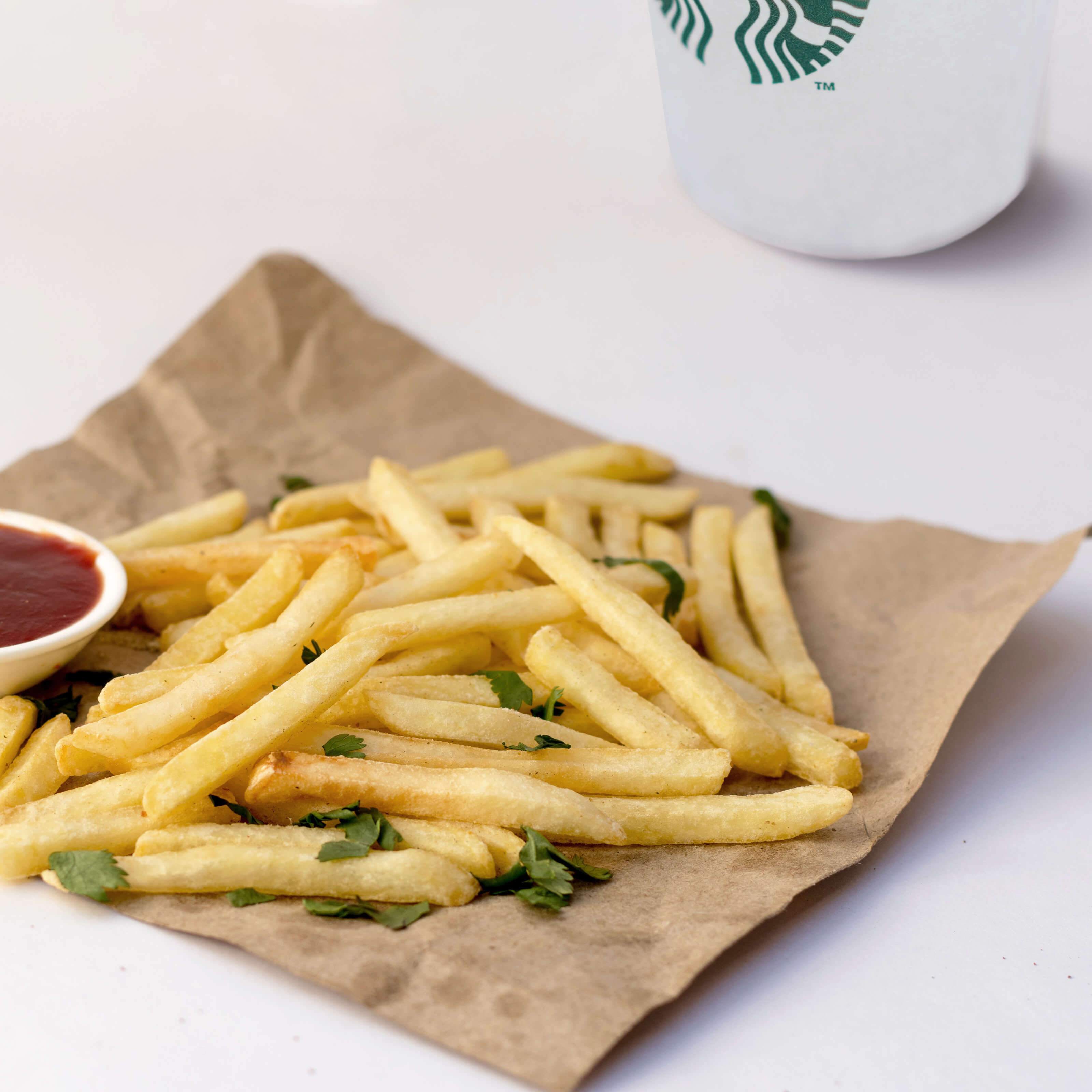 mcdonalds fries, starbucks coffee cup