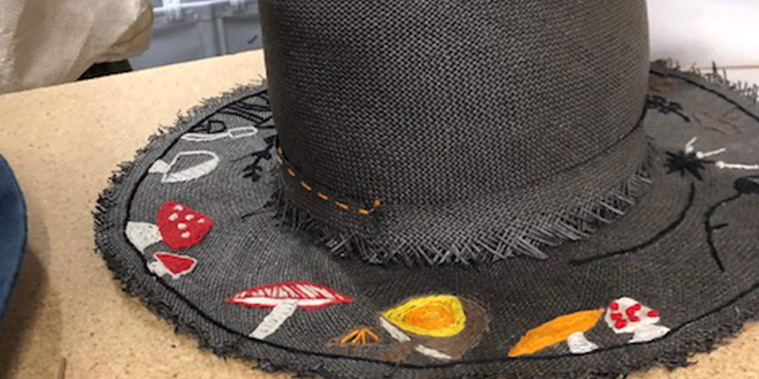 black woven mushroom hat