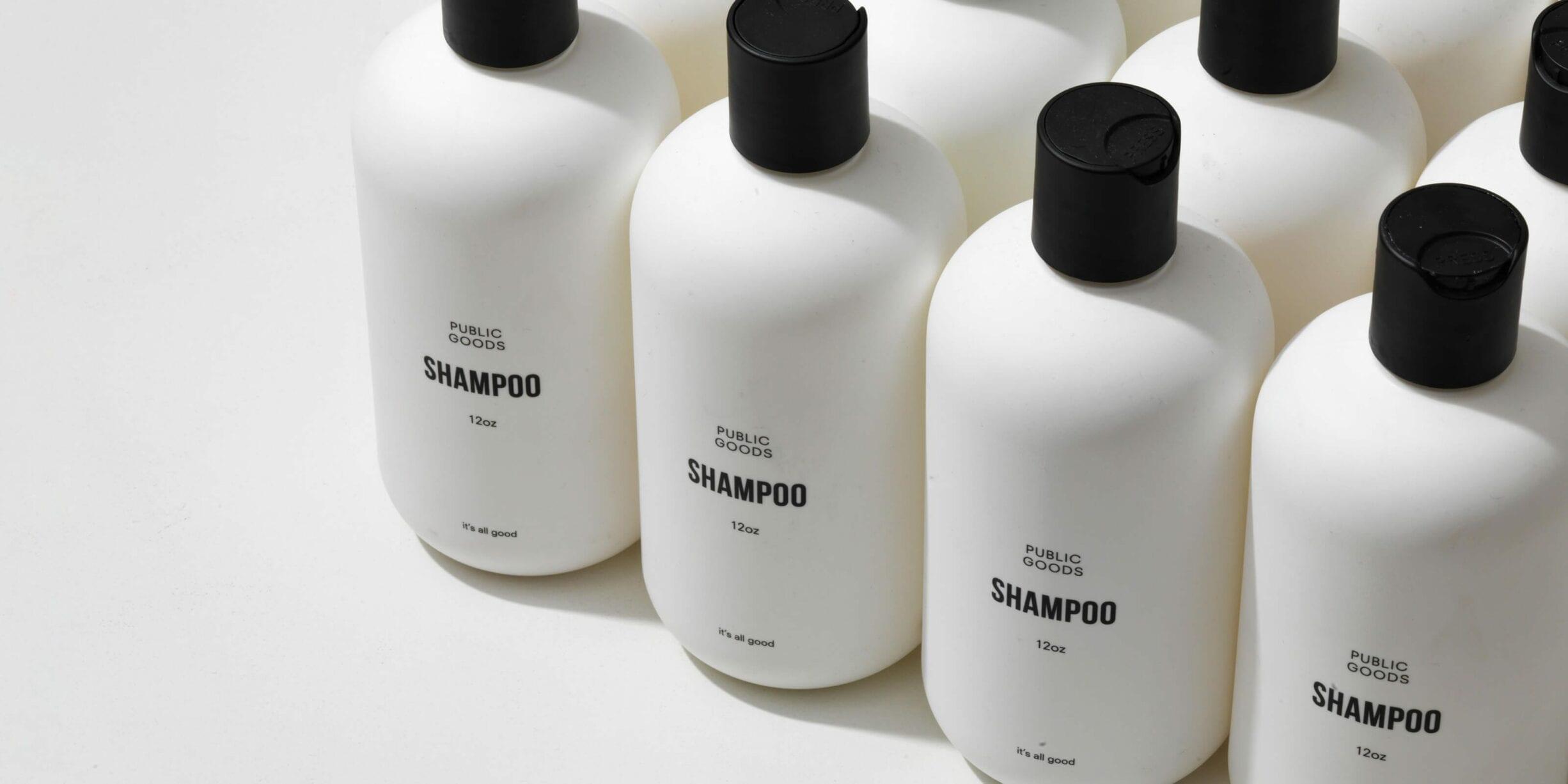 bottles of public goods shampoo