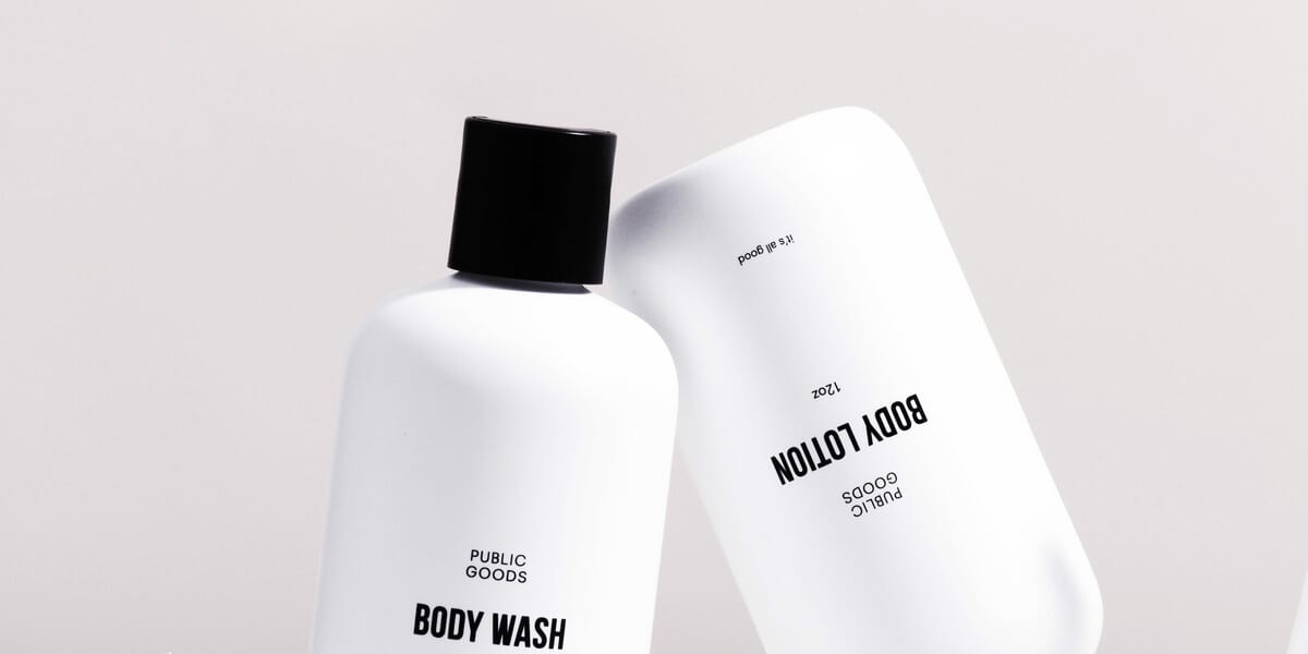 public goods body wash and lotion bottles