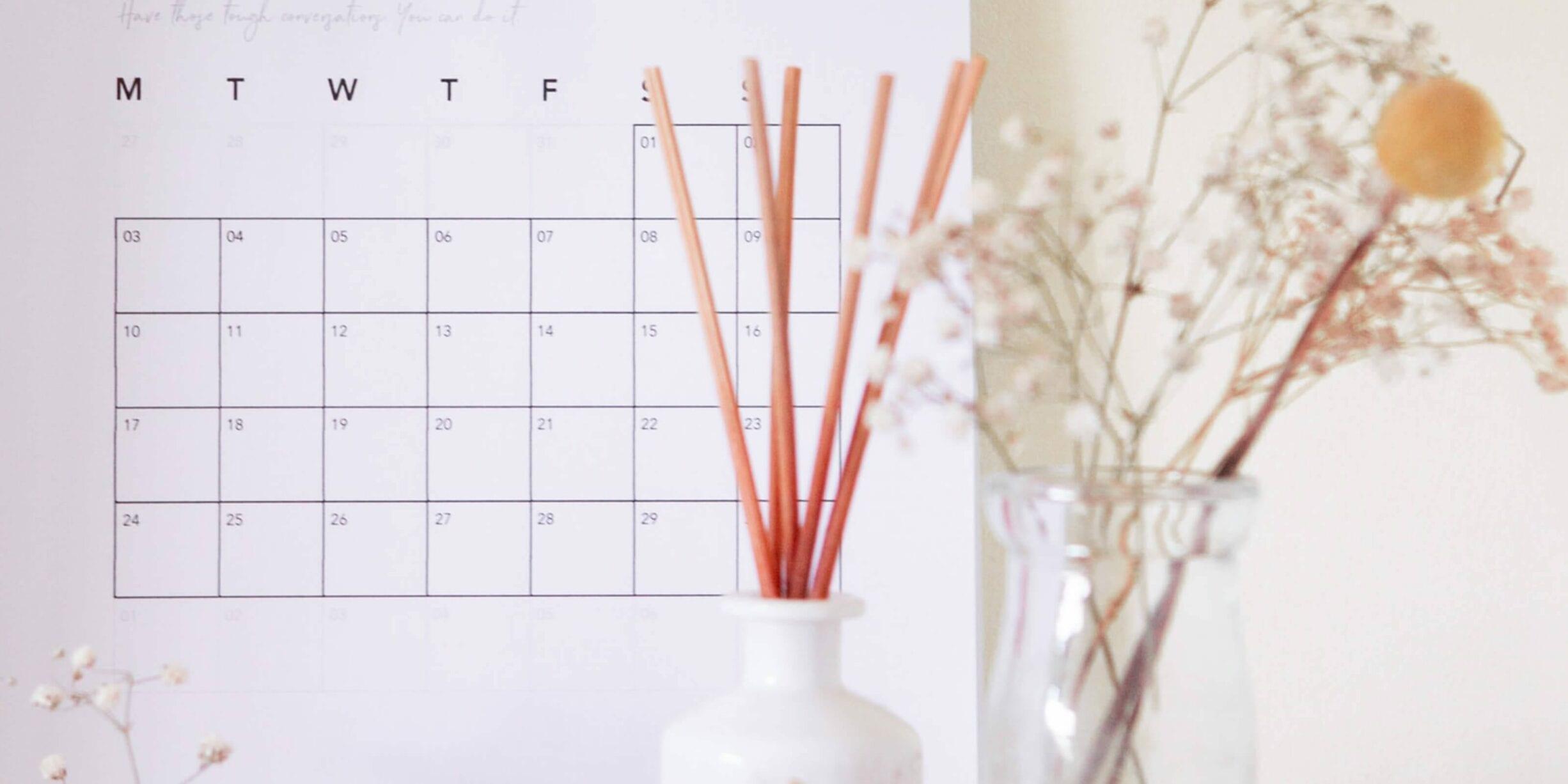 calendar, vase, plants, reed diffuser