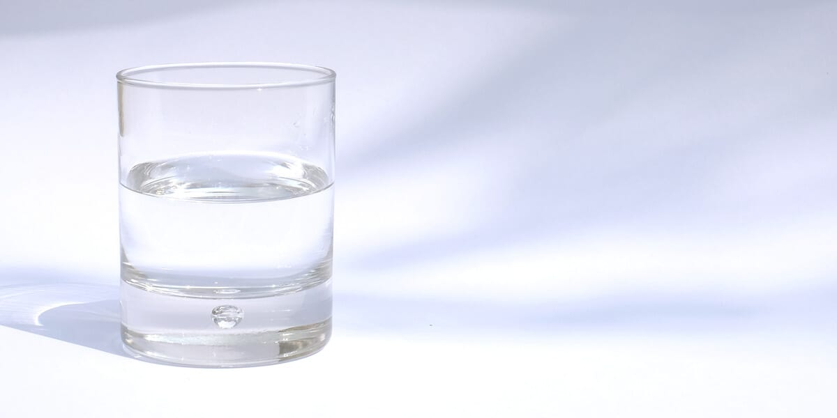 glass of fluoridated water