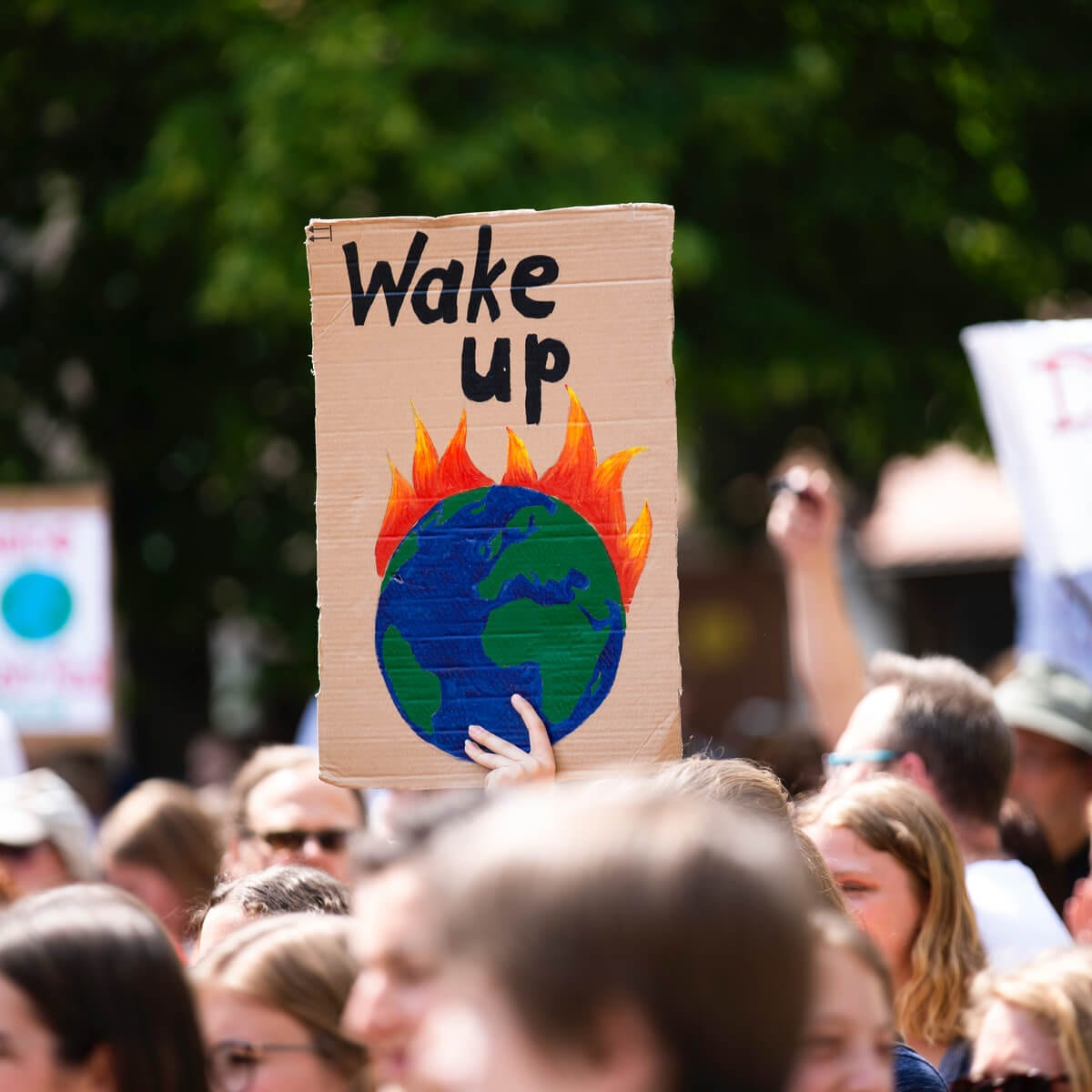 protestor sign with wake up and drawing of planet on fire