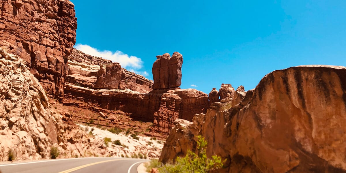 mountain road, rock formations