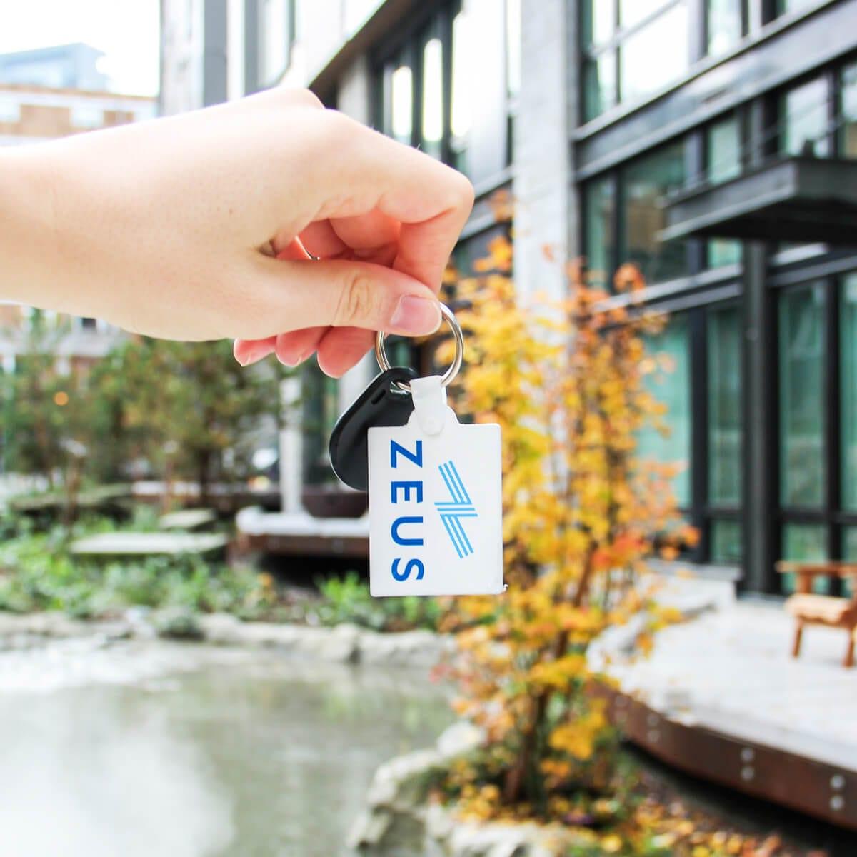 zeus door key, apartment courtyard