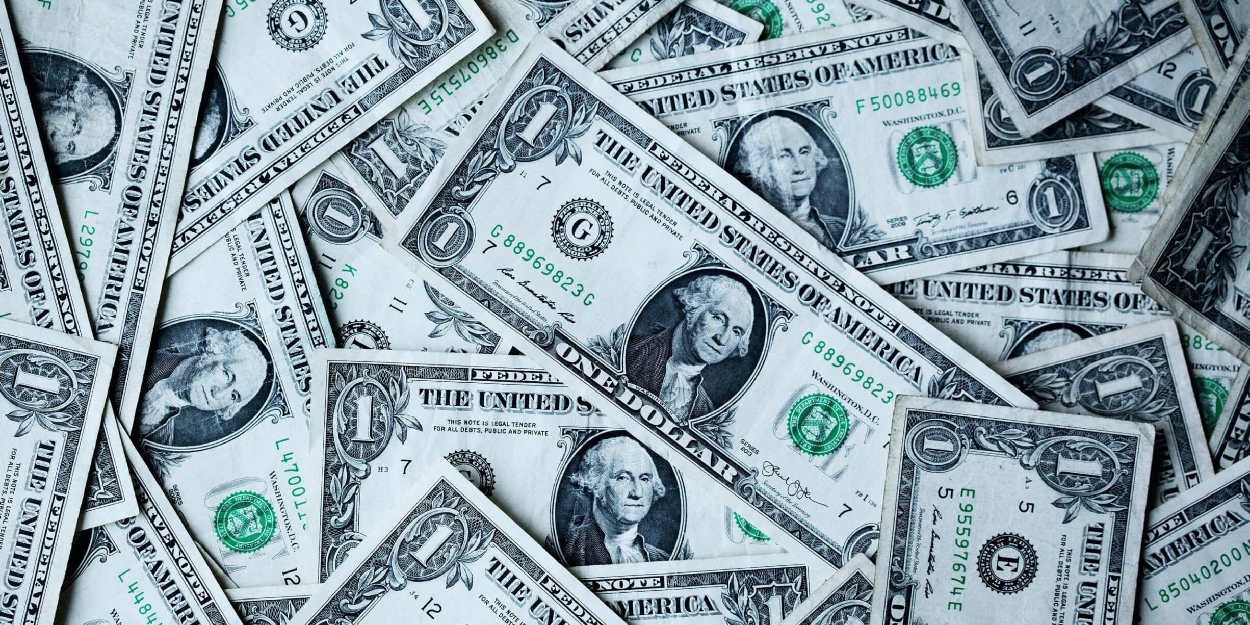 flat lay one dollar bills
