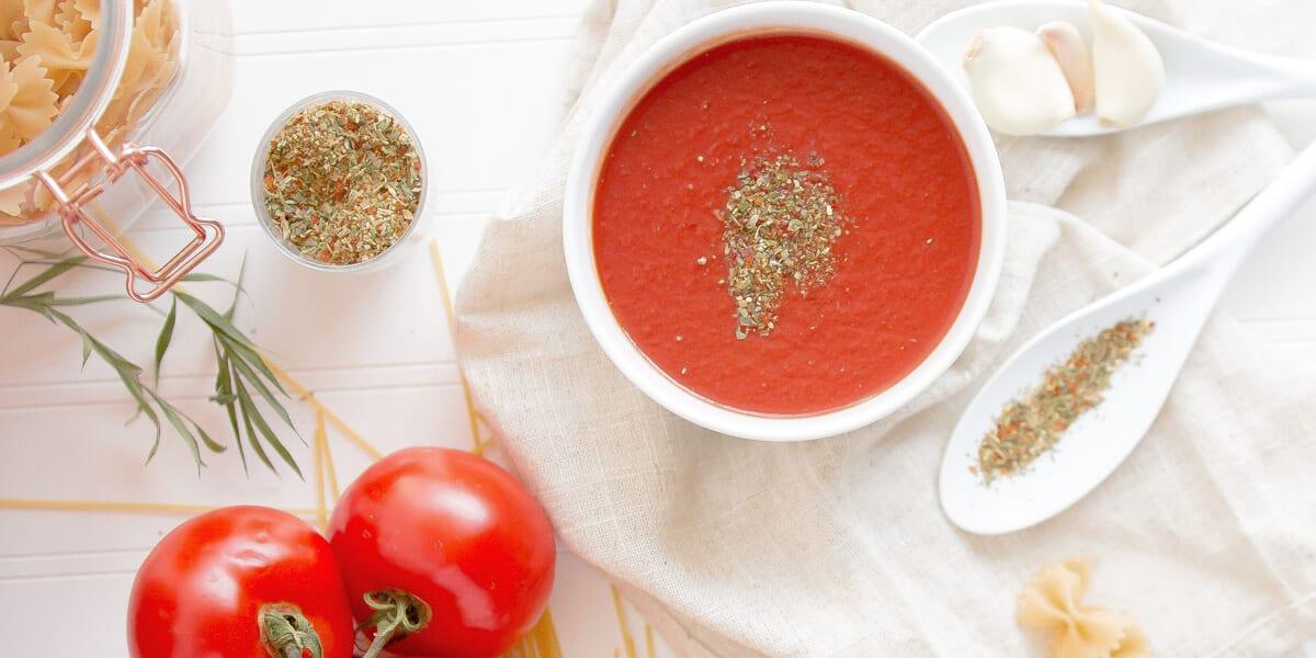 tomato sauce, tomatoes, pasta, flat lay, white table