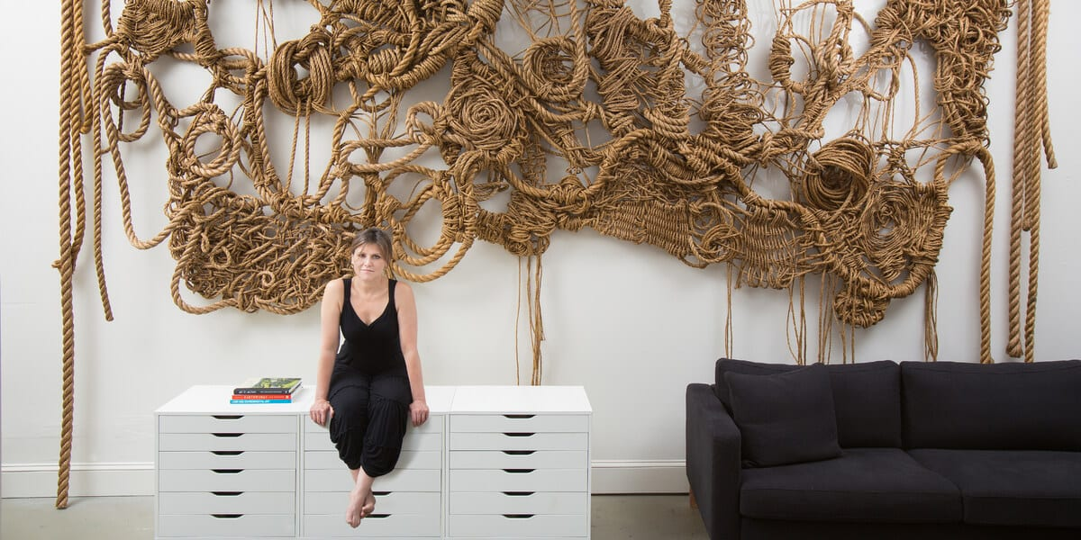 manila rope sculpture on wall, susan beallor snyder