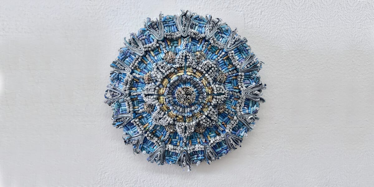 blue sculpture, wall, jaynie crimmins