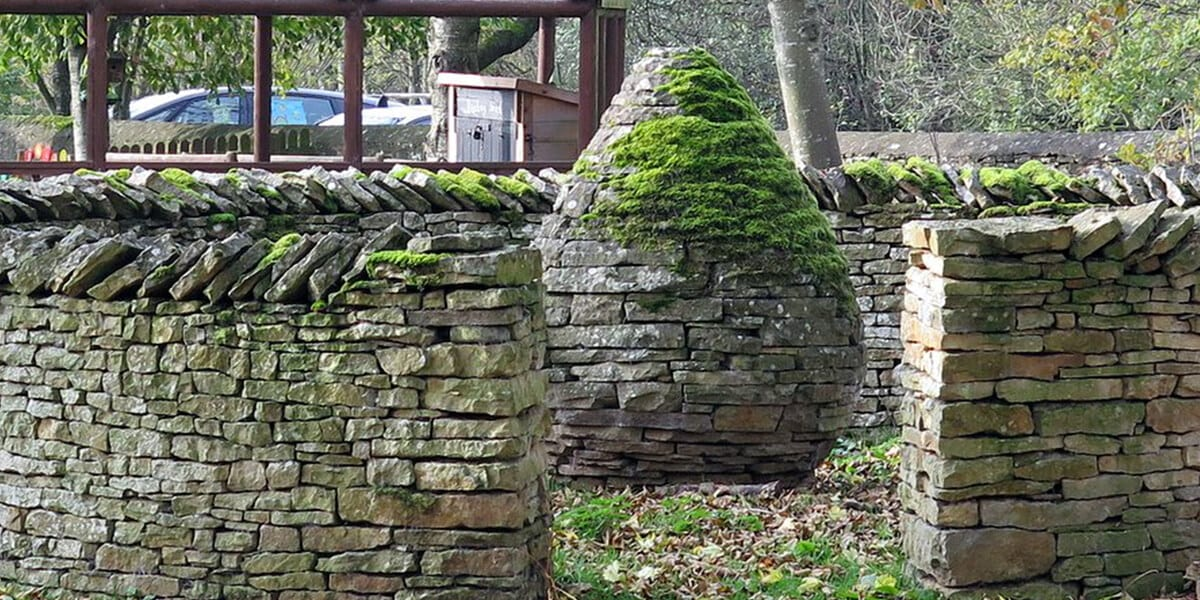 stone walls covered with moss
