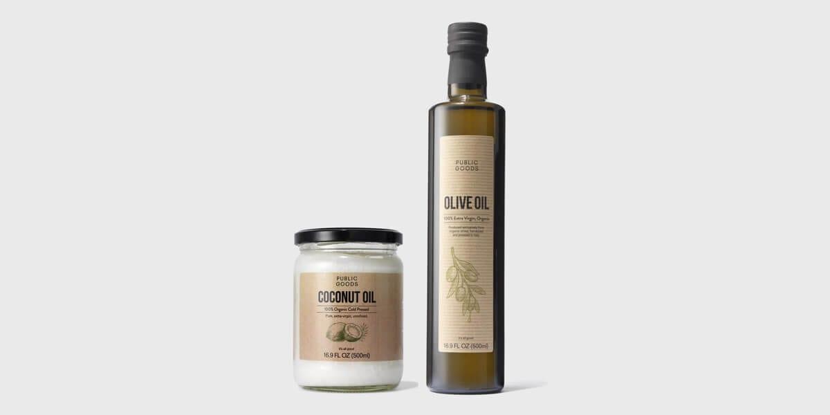 public goods olive oil bottle, public goods coconut oil glass