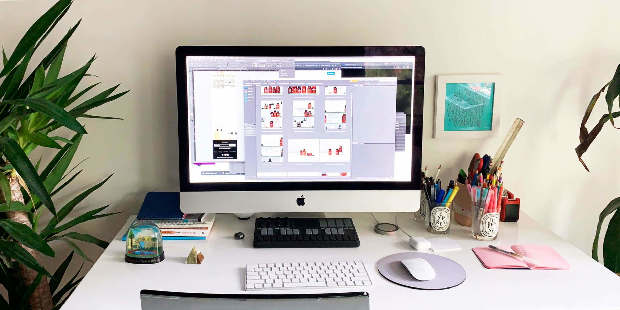 mac desktop on desk with plant keyboard