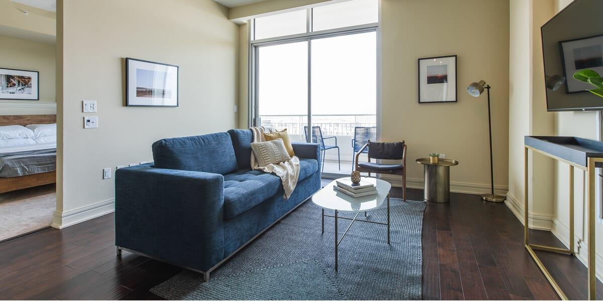 locale apartment living room in dallas design district