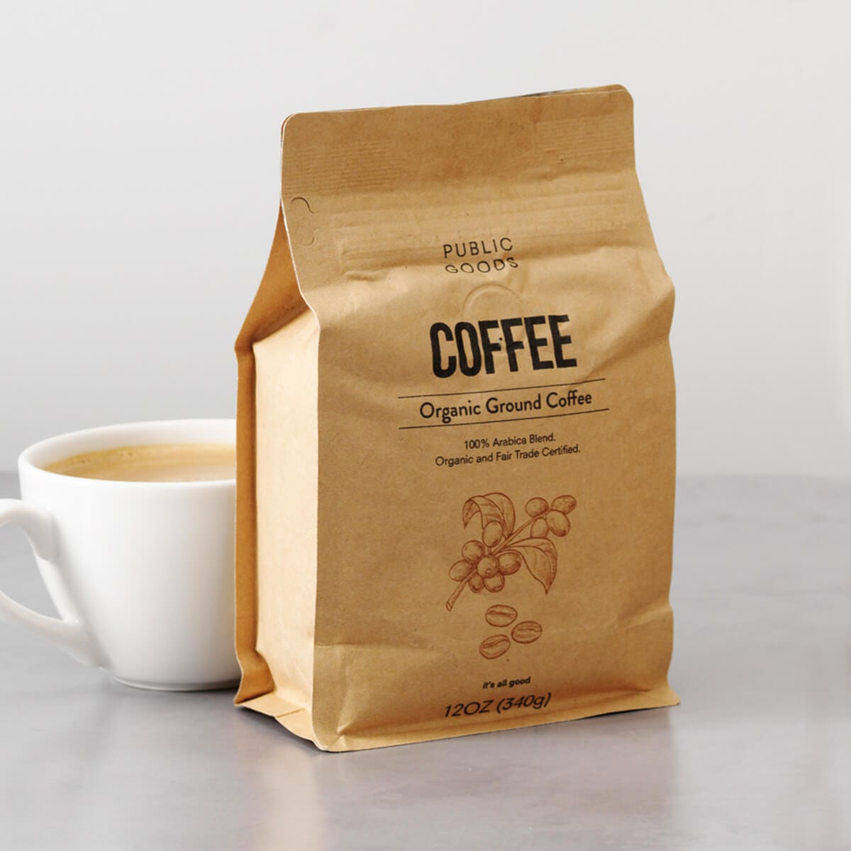 packaged organic ground coffee, cup of coffee