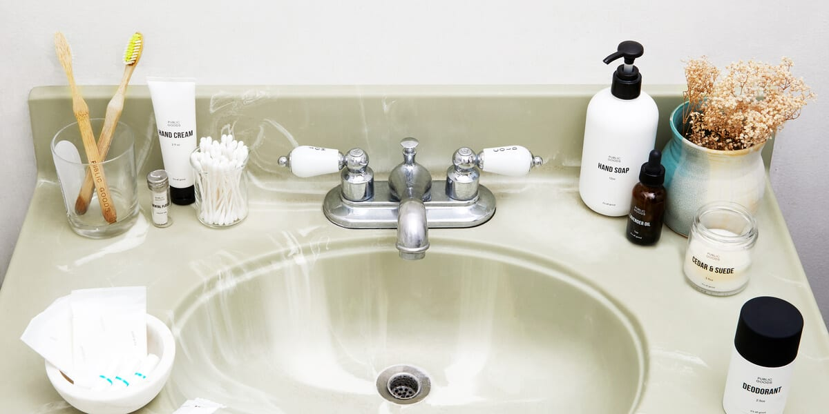 bathroom sink with public goods products