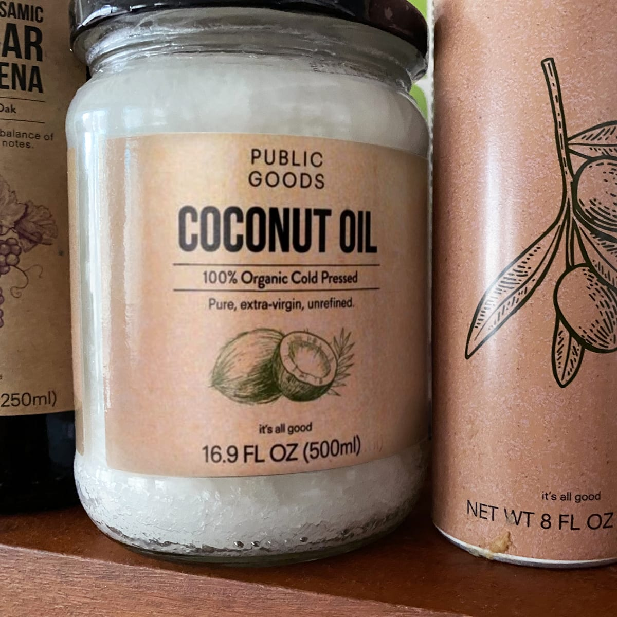 glass jar of organic coconut oil