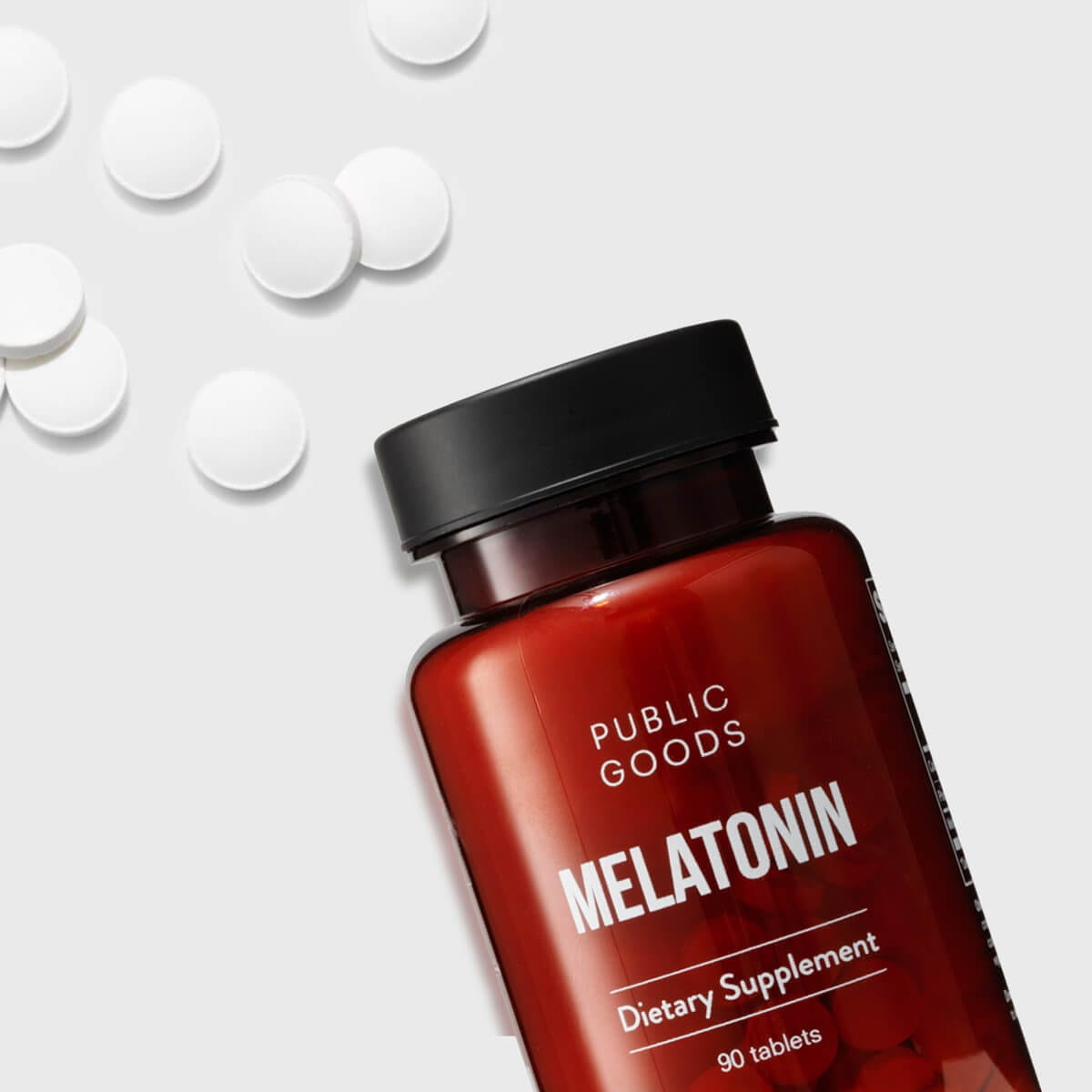 bottle of melatonin supplements