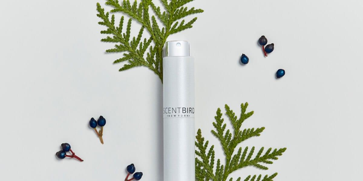 scent bird perfume bottle, leaves, berries