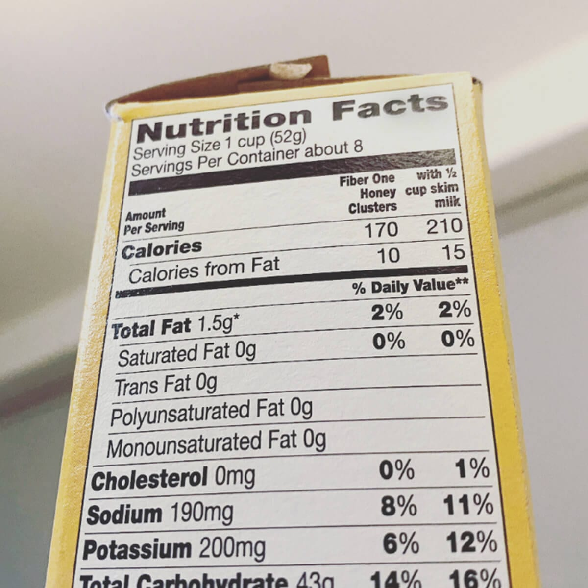 nutrition facts label on a cereal box