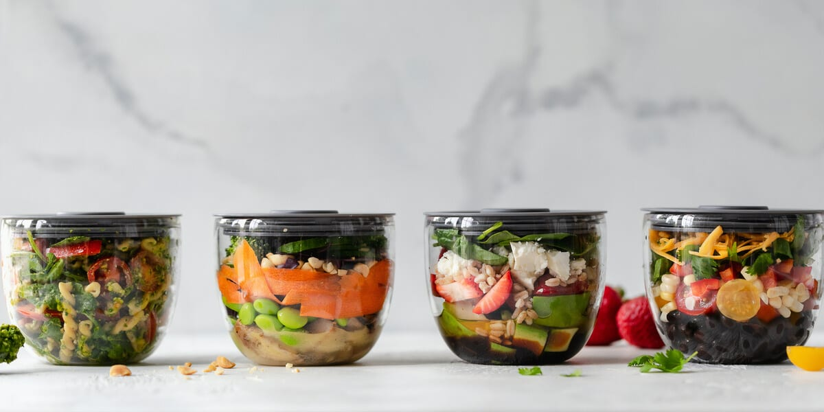 fruits and vegetables in tupperware