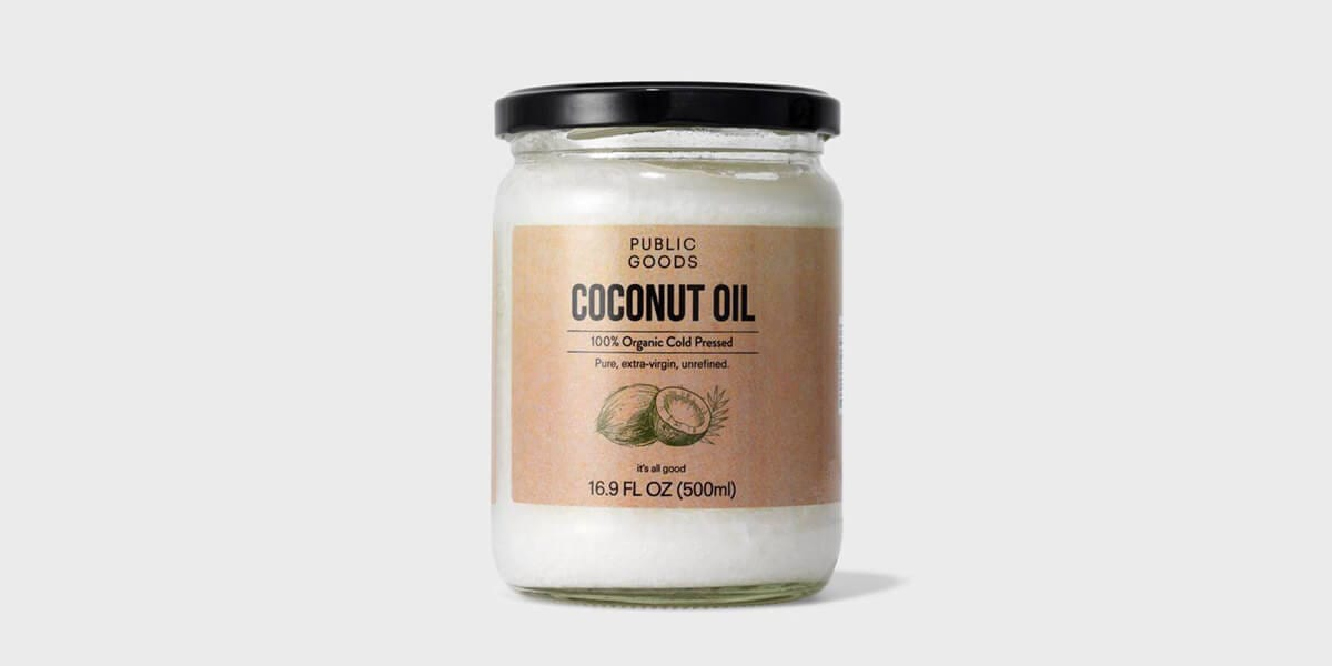 jar of organic cold pressed coconut oil from public goods