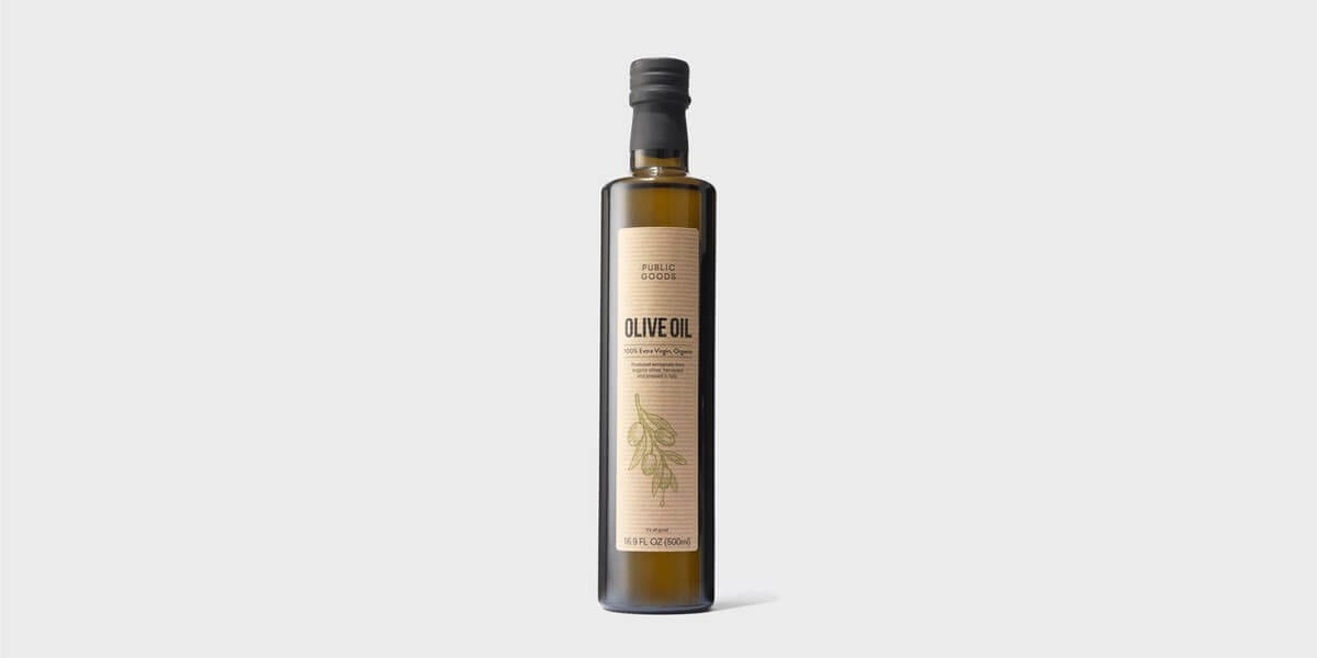 one bottle of extra virgin olive oil from public goods