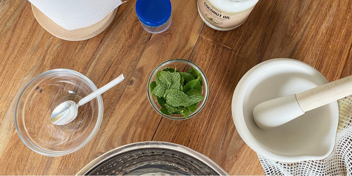 bowl of peppermint leaves, glass bowl with spoon, mortar and pestle, strainer, coconut oil jar